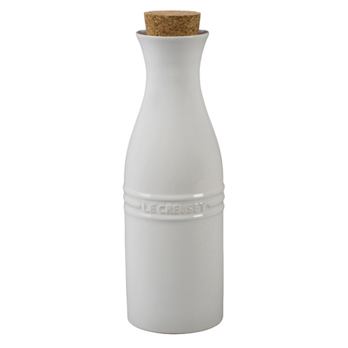 Le Creuset White Stoneware Large 750 mL Carafe with Cork Stopper