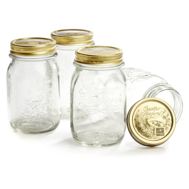Bormioli Rocco Quattro Stagioni 17 Ounce Glass Storage Jar, Set of 4