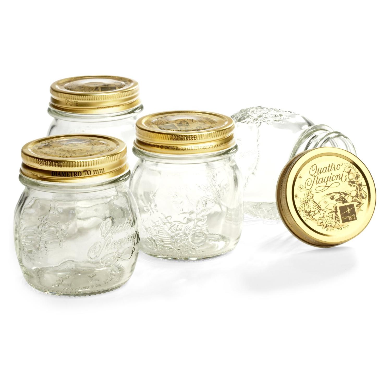 Bormioli Rocco Quattro Stagioni 8.5 Ounce Glass Storage Jar, Set of 4