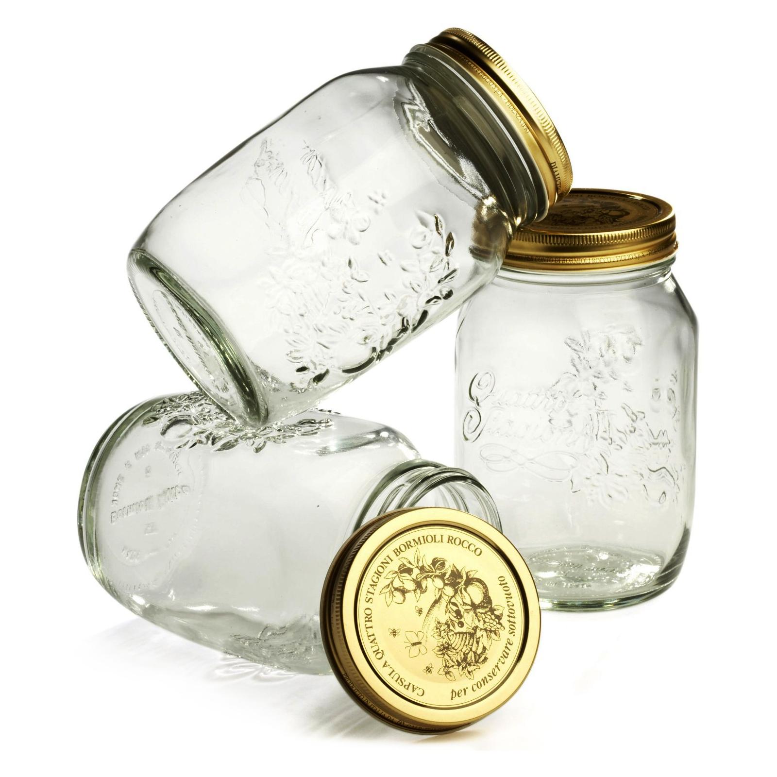 Bormioli Rocco Quattro Stagioni 33.75 Ounce Glass Jar, Set of 4
