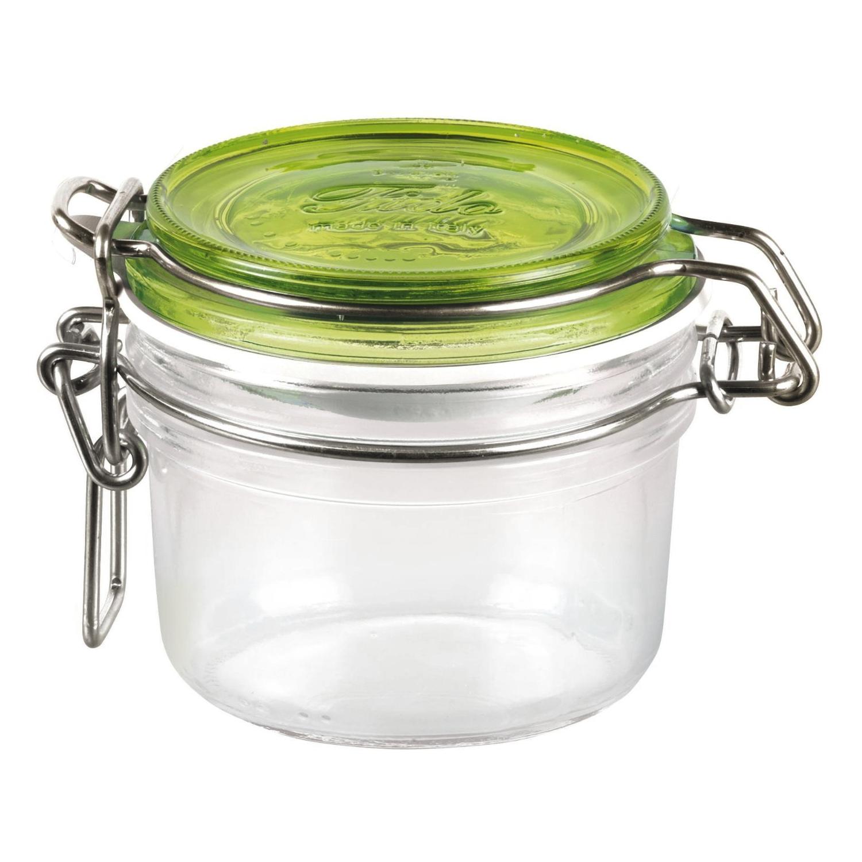 Bormioli Rocco Fido 25.25 Ounce Square Glass Jar With Green Lid