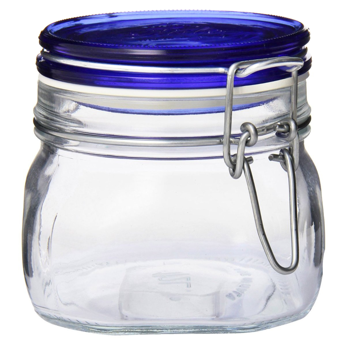 Bormioli Rocco Fido Glass 17.5 Ounce Square Jar with Blue Top