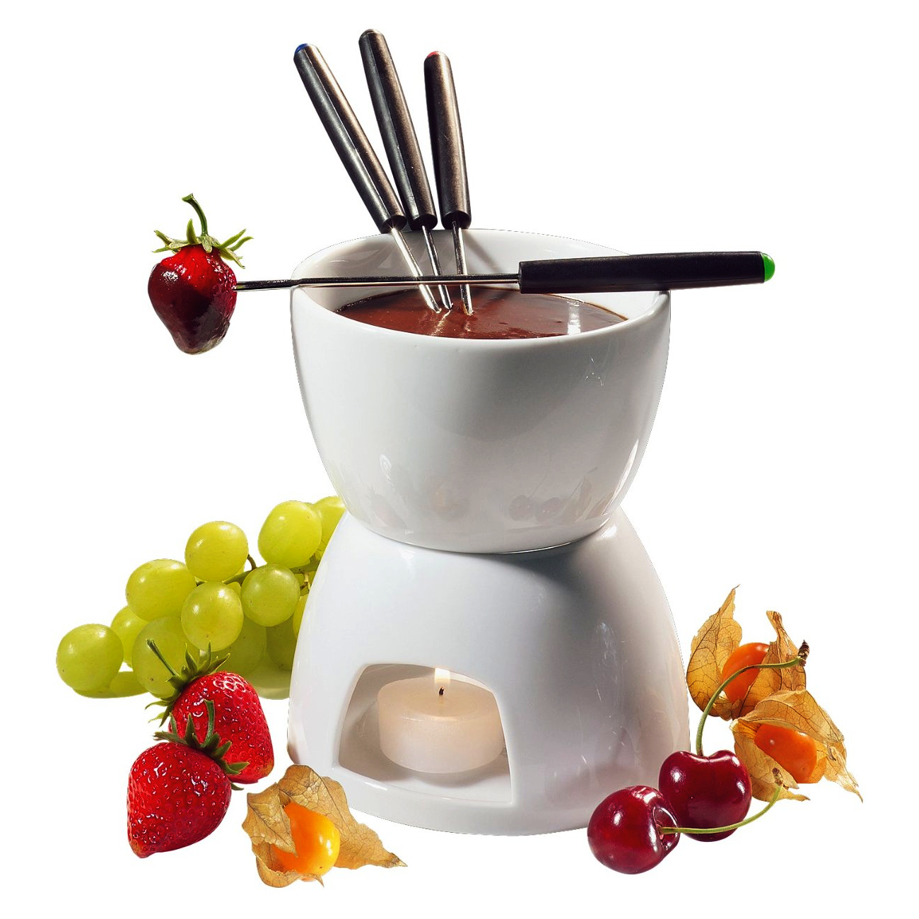 Frieling White Porcelain 2 Cup Chocolate Fondue Pot