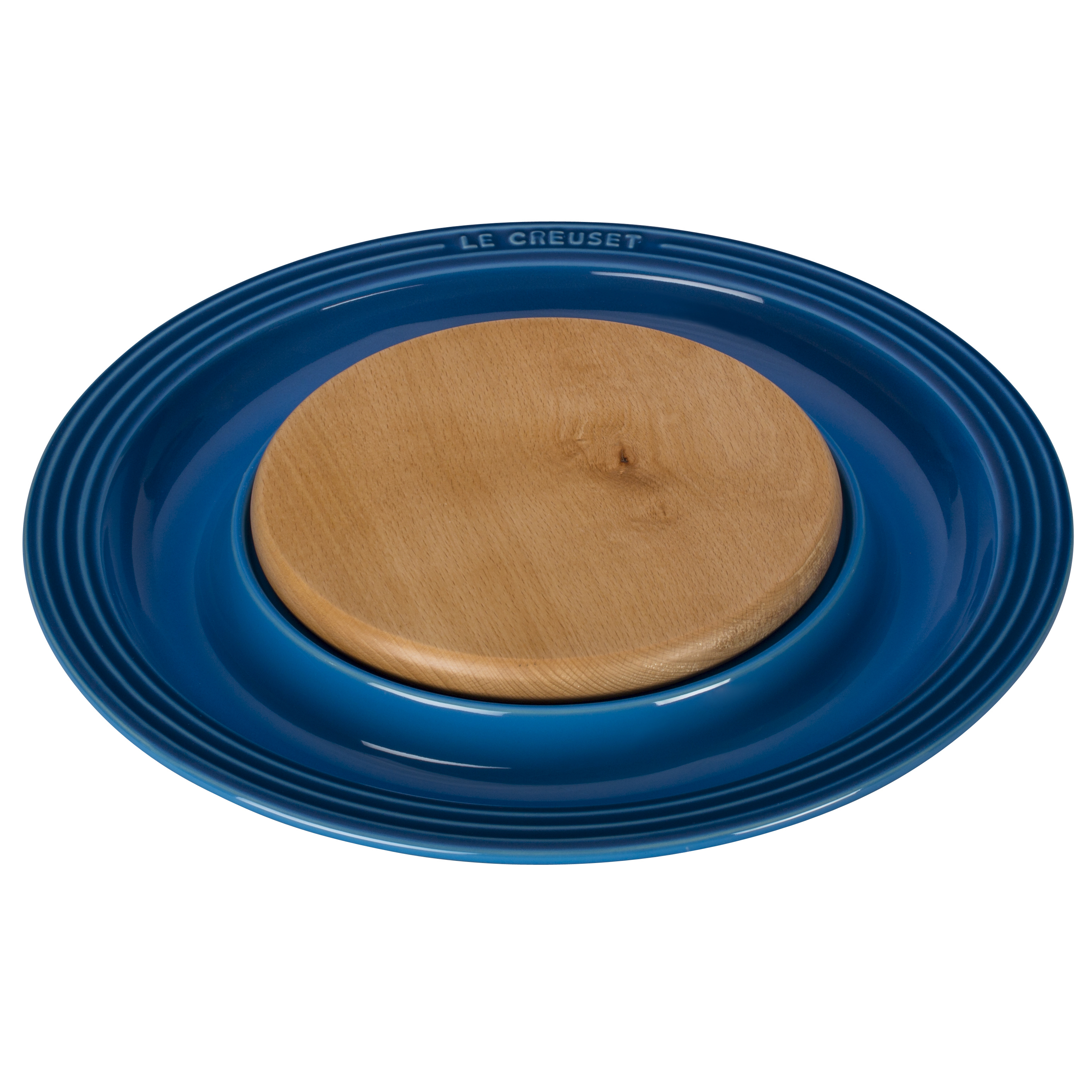 Le Creuset Marseille Blue Stoneware Cheese Server with Beechwood Cutting Board