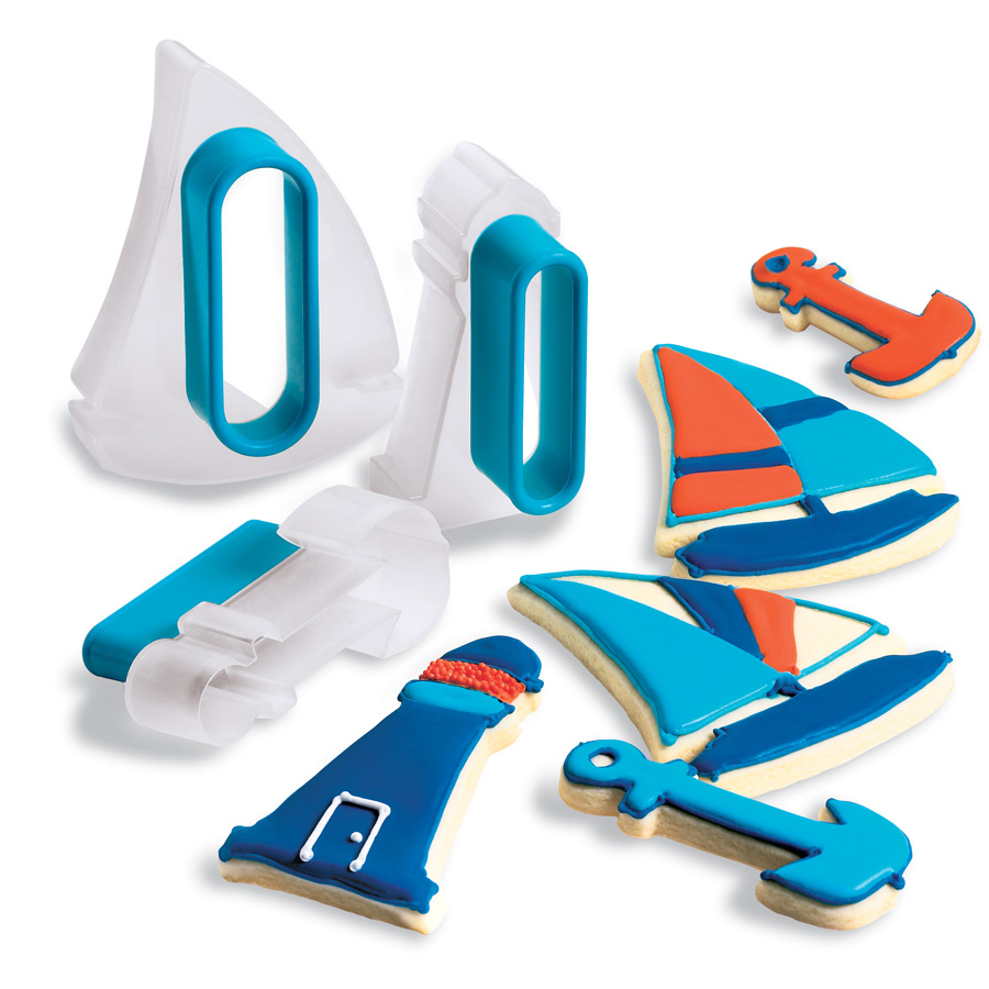 Cuisipro Snap-Fit Blue Nautical Shapes Cookie Cutter Set
