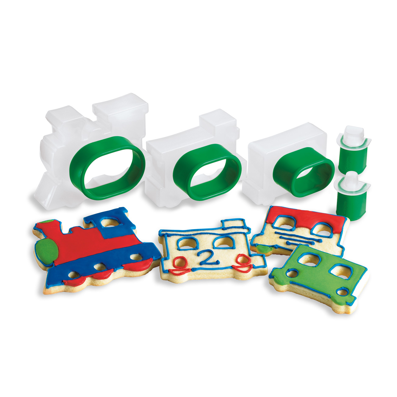 Cuisipro Snap-Fit Green Train Shapes Cookie Cutter Set