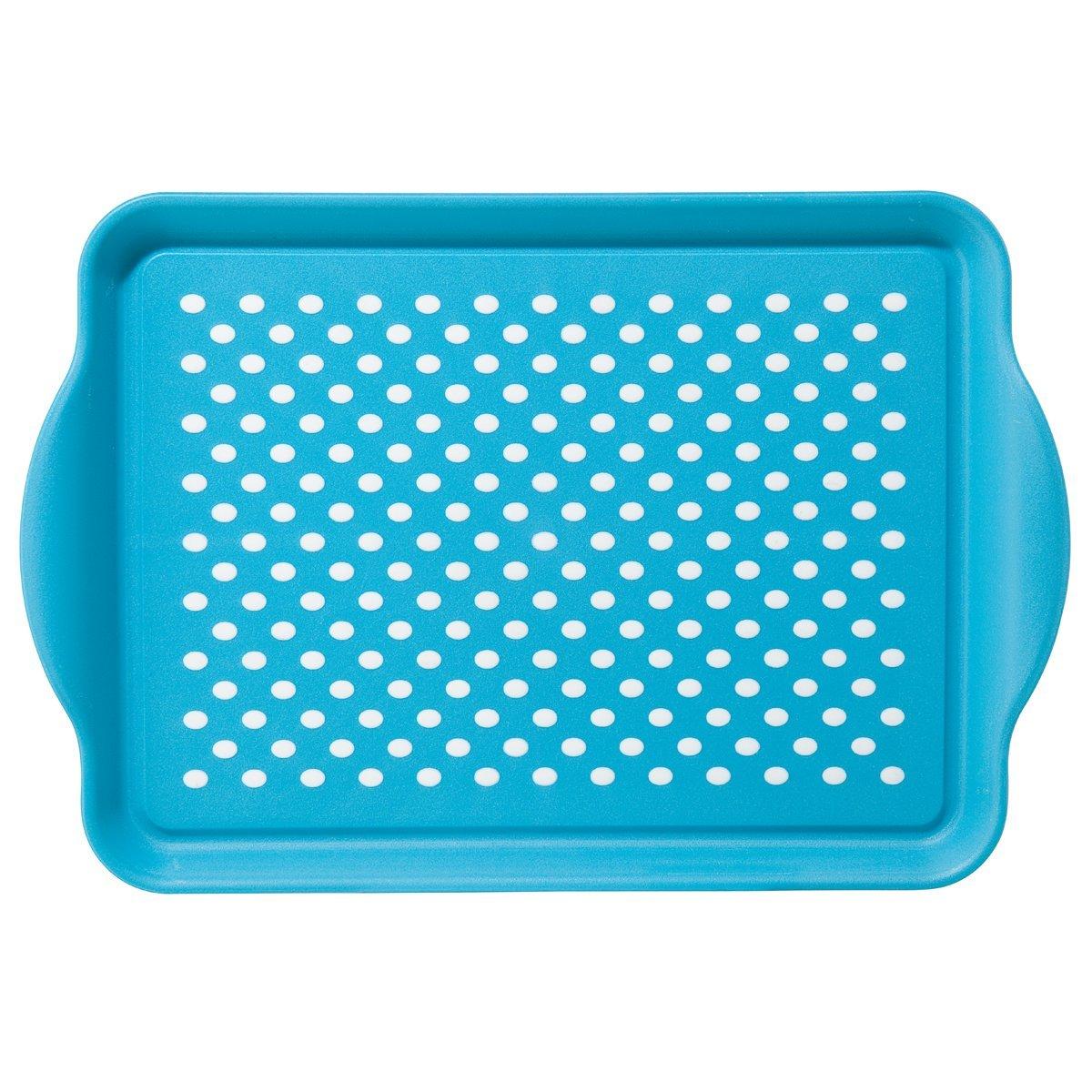 Oggi Rubbergrip Aqua Non-Skid Rectangular Serving Tray