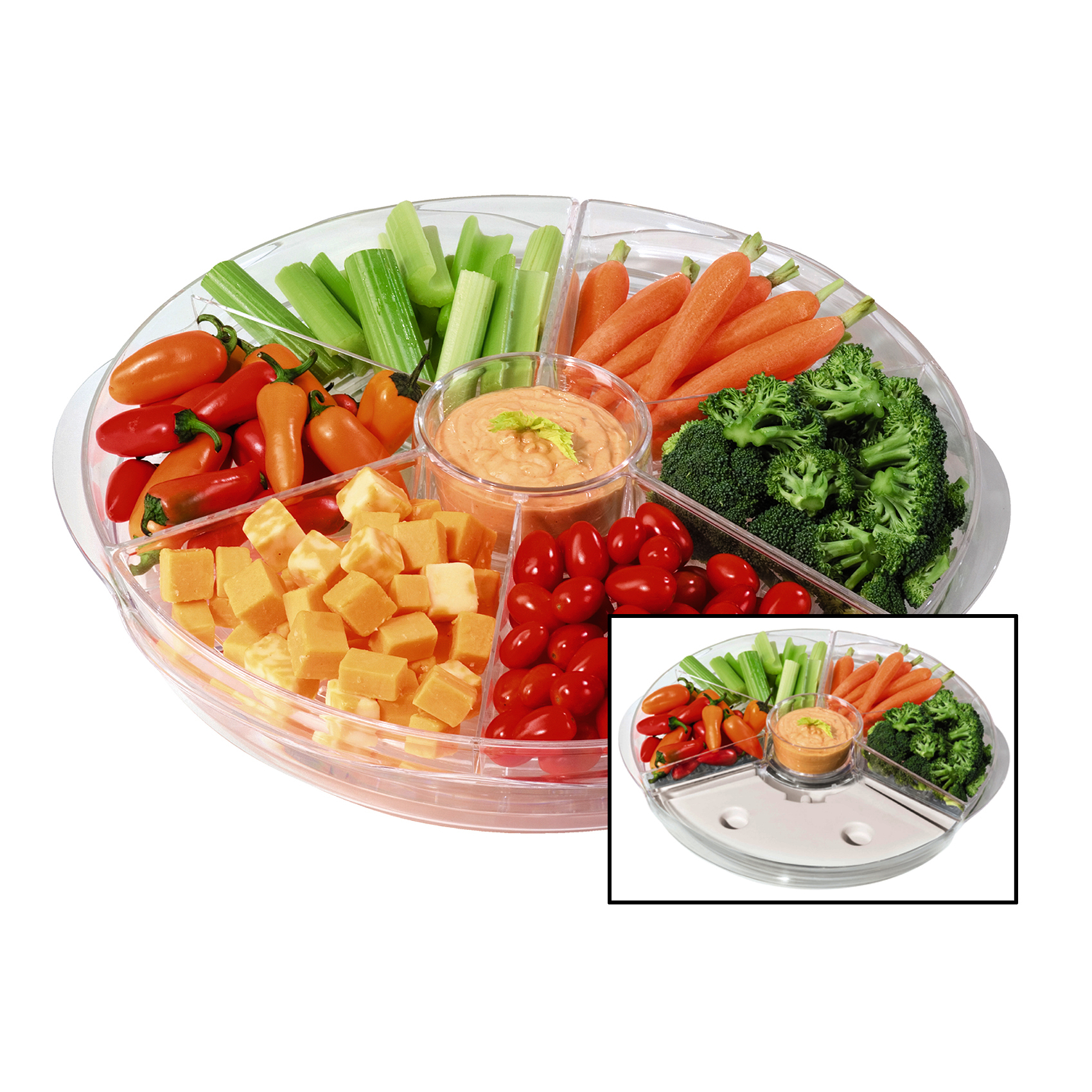 Oggi Acrylic 16.75 Inch Rotating Thermal Ice Tray with Ice Packs