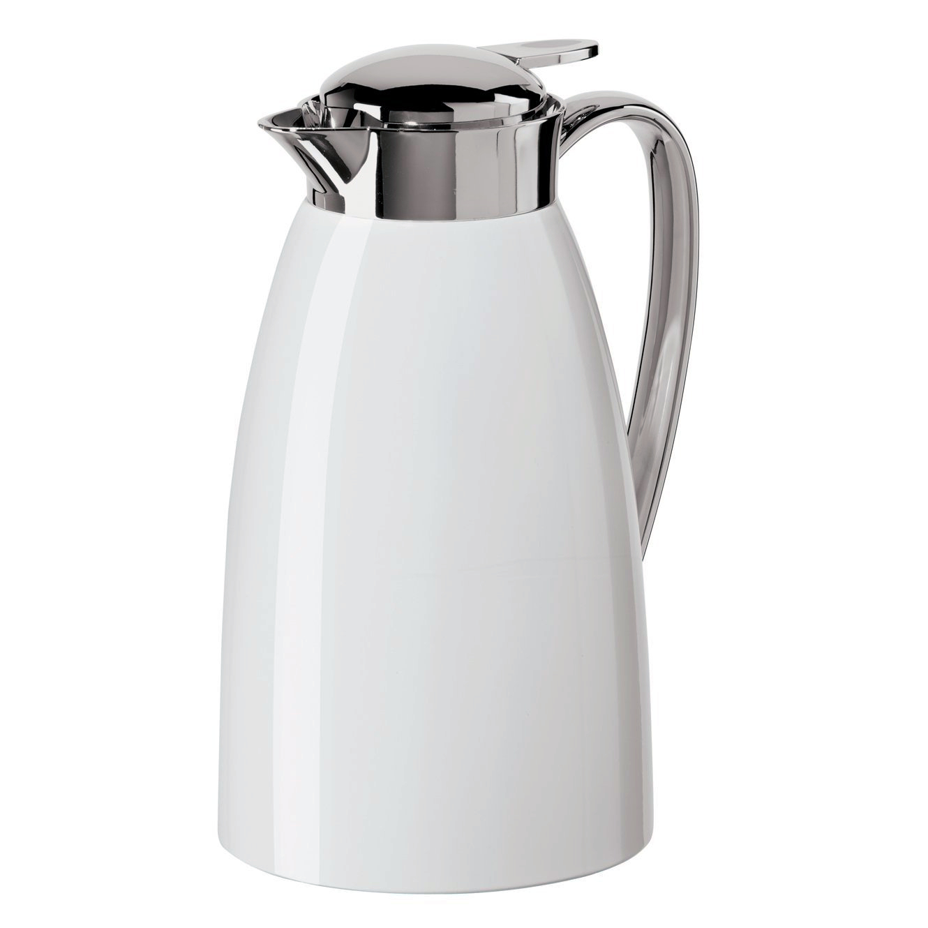 Oggi Gusto White Press Button Top 34 Ounce Carafe with Glass Liner