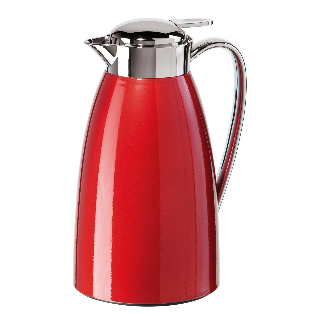 Oggi Gusto Red Press Button Top 34 Ounce Carafe with Glass Liner