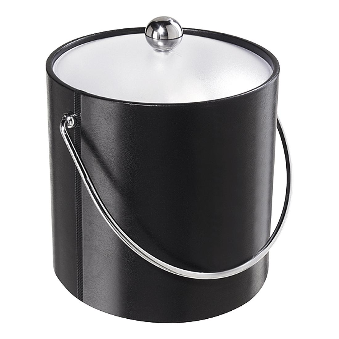Oggi Black and White Vinyl 3 Quart Ice Bucket with Lid