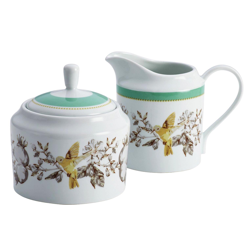 Bonjour White and Teal Floral Porcelain Sugar and Creamer Set
