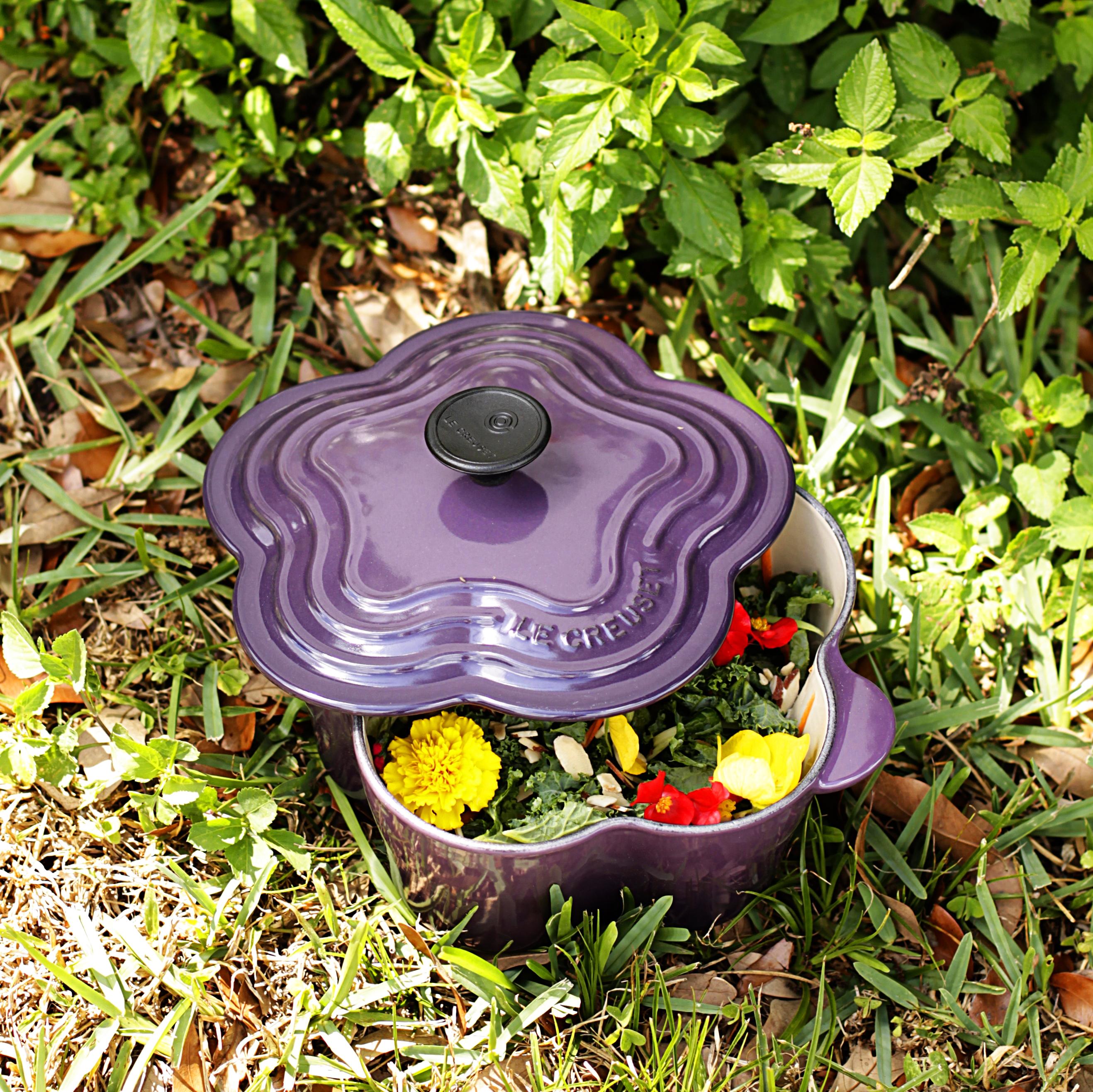 Le Creuset Cassis Enameled Cast Iron 2.25 Quart Flower-Shaped Cocotte