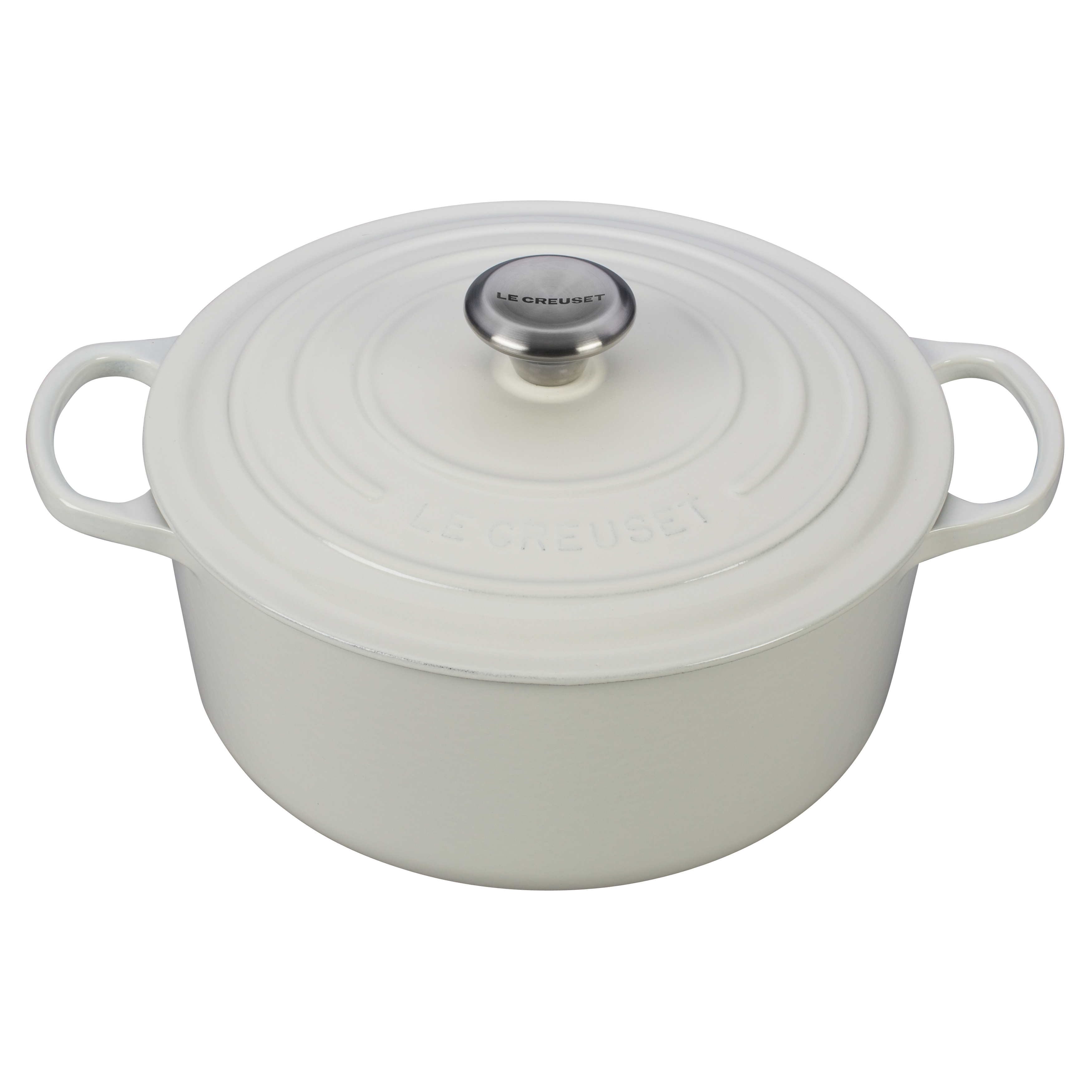 Le Creuset Signature White Enameled Cast Iron 5.5 Quart Round Dutch Oven