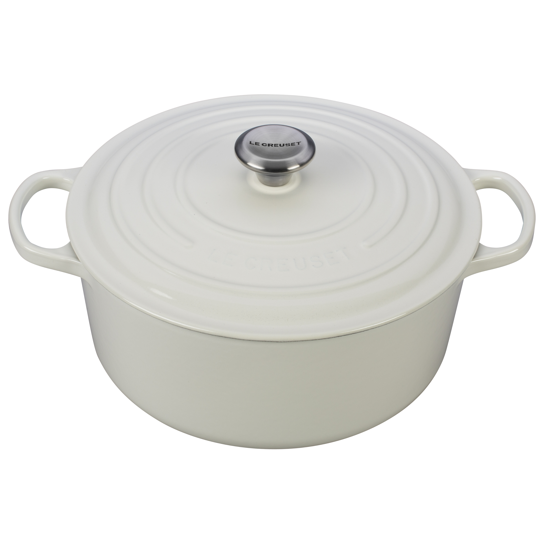 Le Creuset Signature White Enameled Cast Iron 7.25 Quart Round Dutch Oven