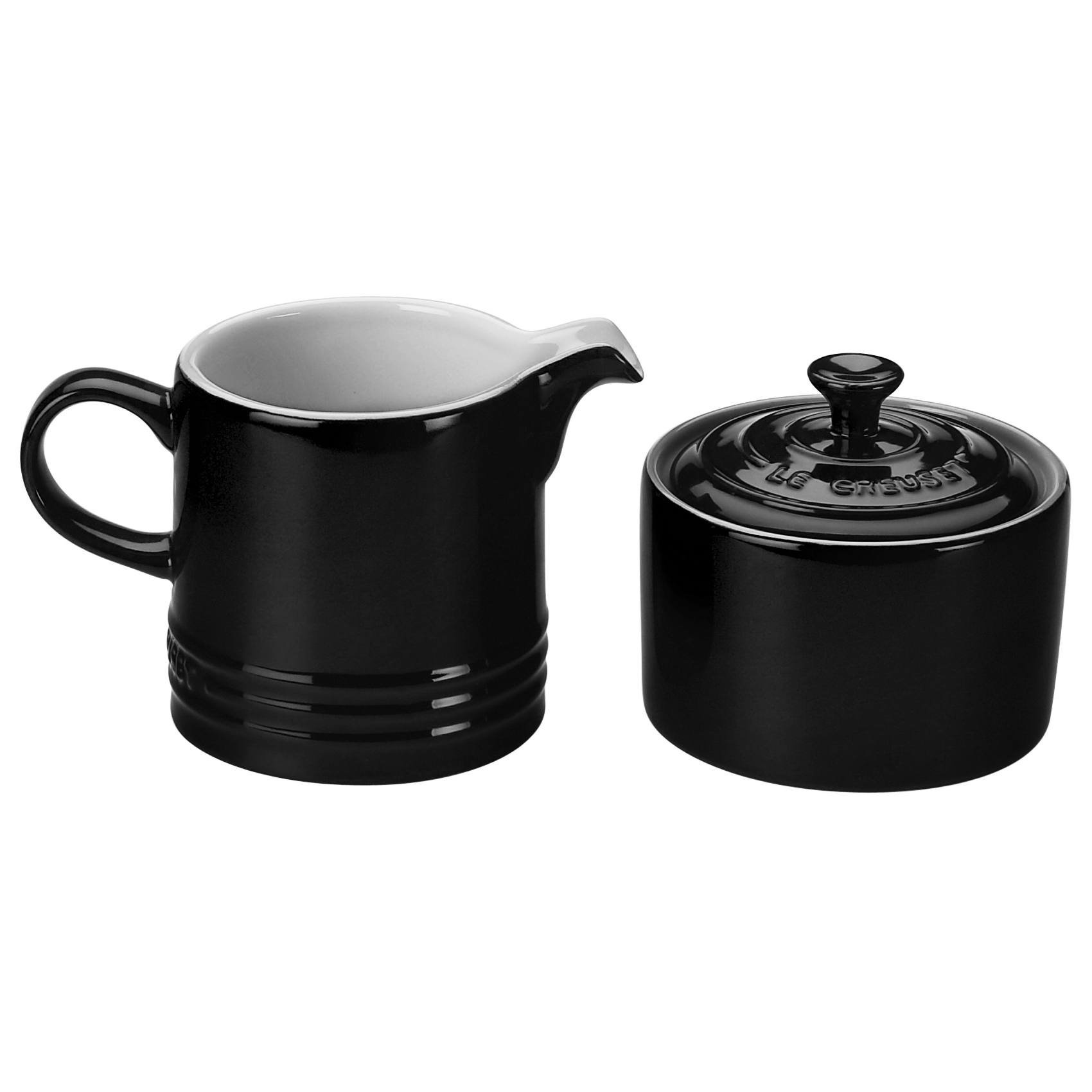 Le Creuset Black Onyx Stoneware Cream and Sugar Set