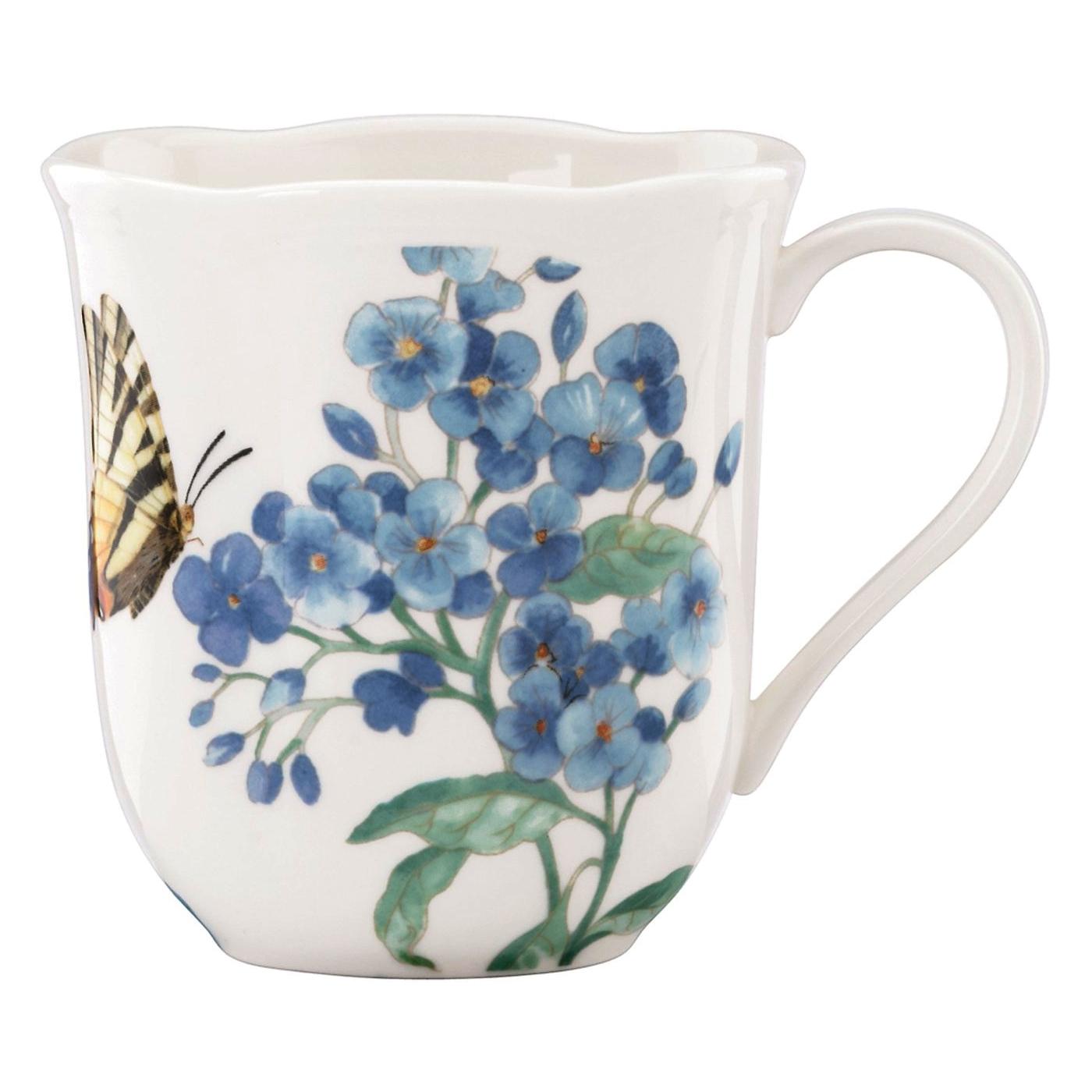 Lenox Butterfly Meadow Blue 10 Ounce Mug, Set of 4