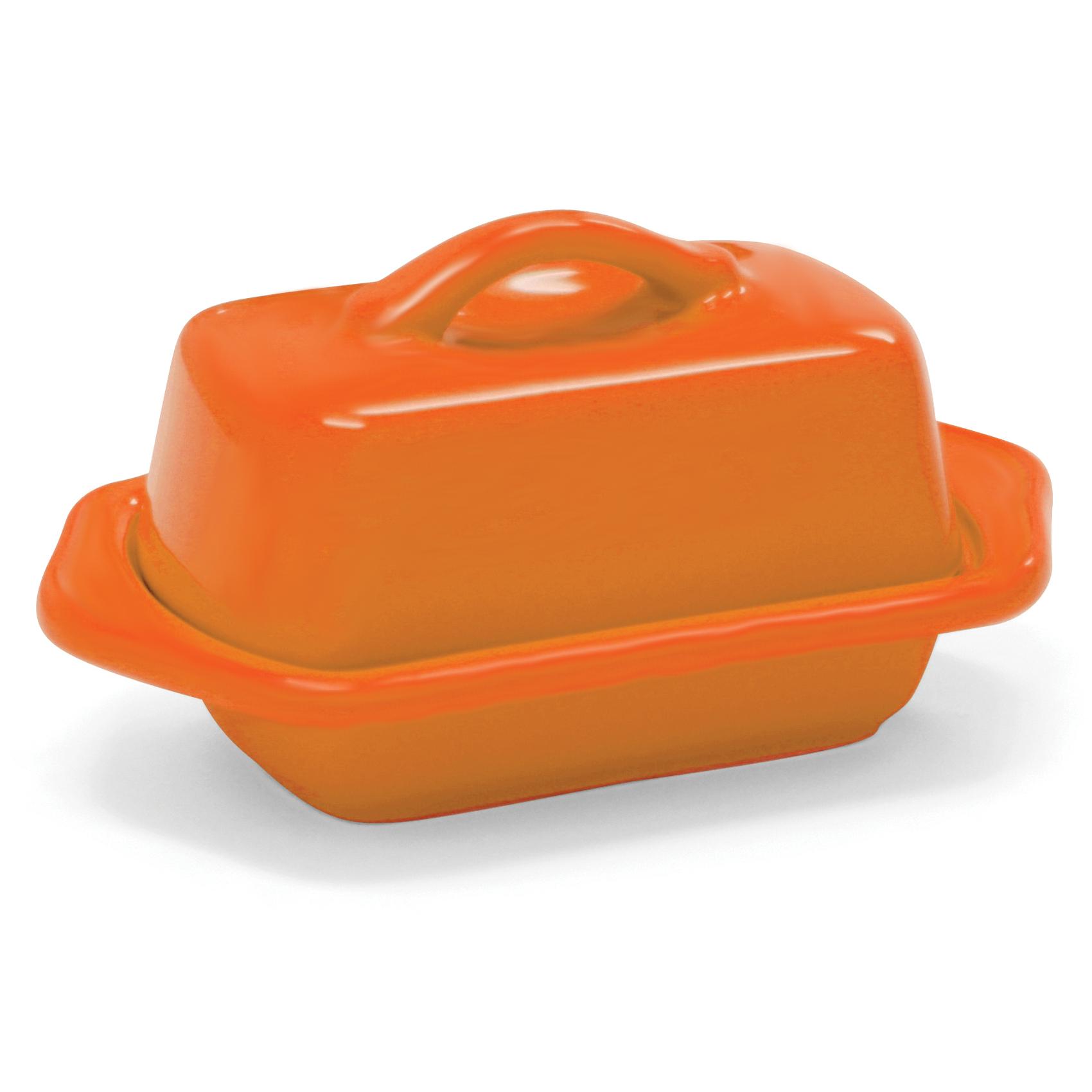 Chantal Orange Stoneware Mini 5 Inch Butter Dish