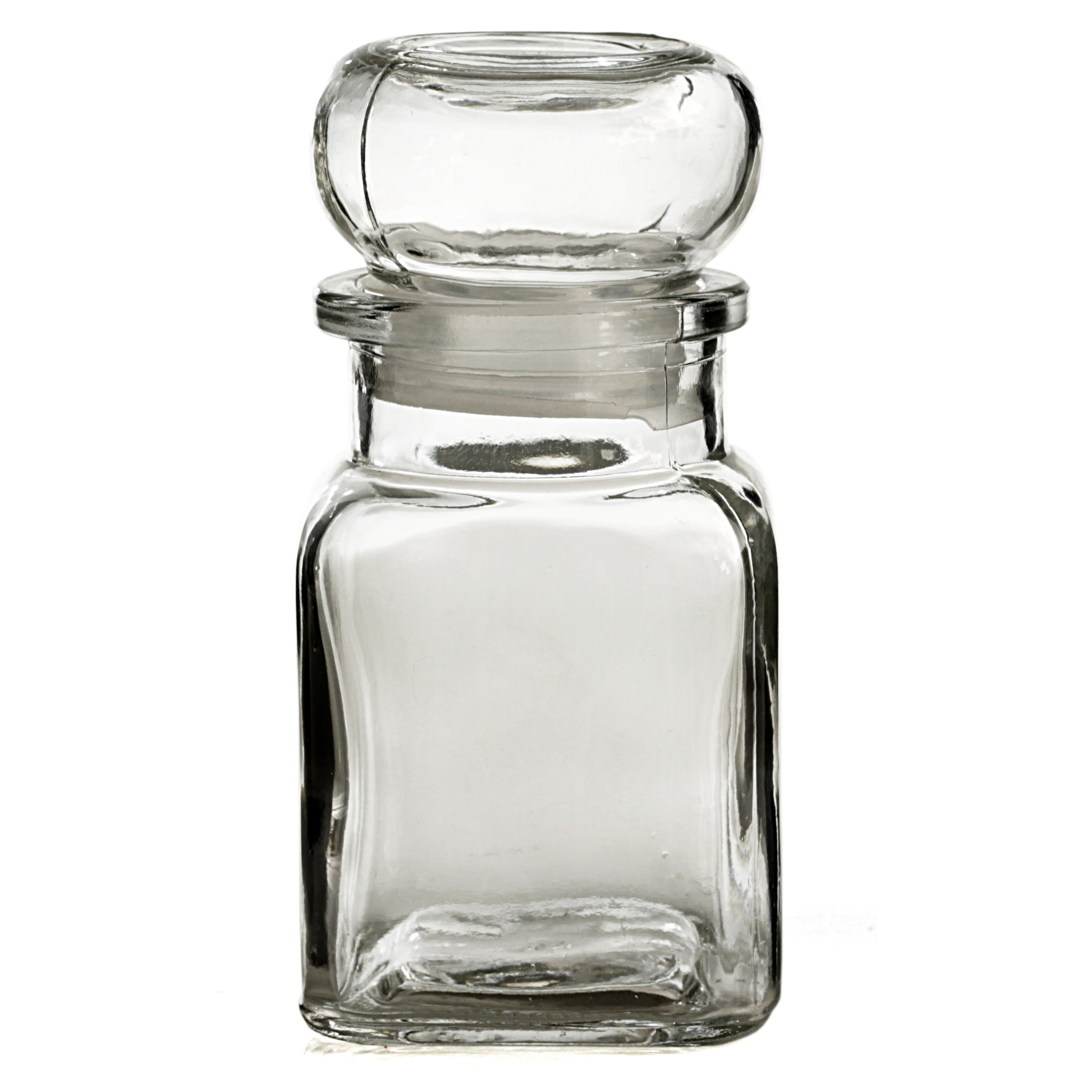 Grant Howard Glass 5 Ounce Square Spice Jar with Bell Top, Set of 12