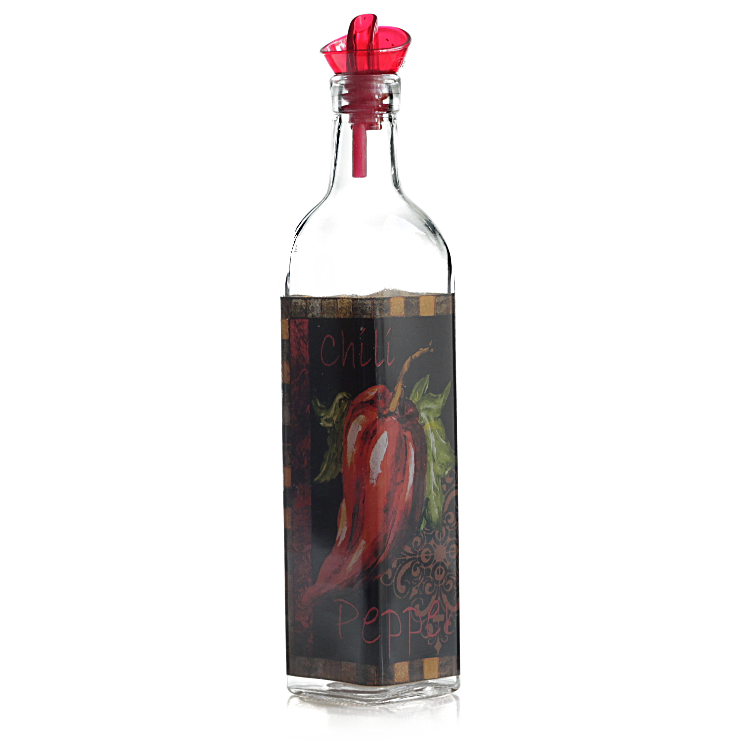 Grant Howard Ergo Pourer Red Chili Oil and Vinegar Glass 16 Ounce Cruet