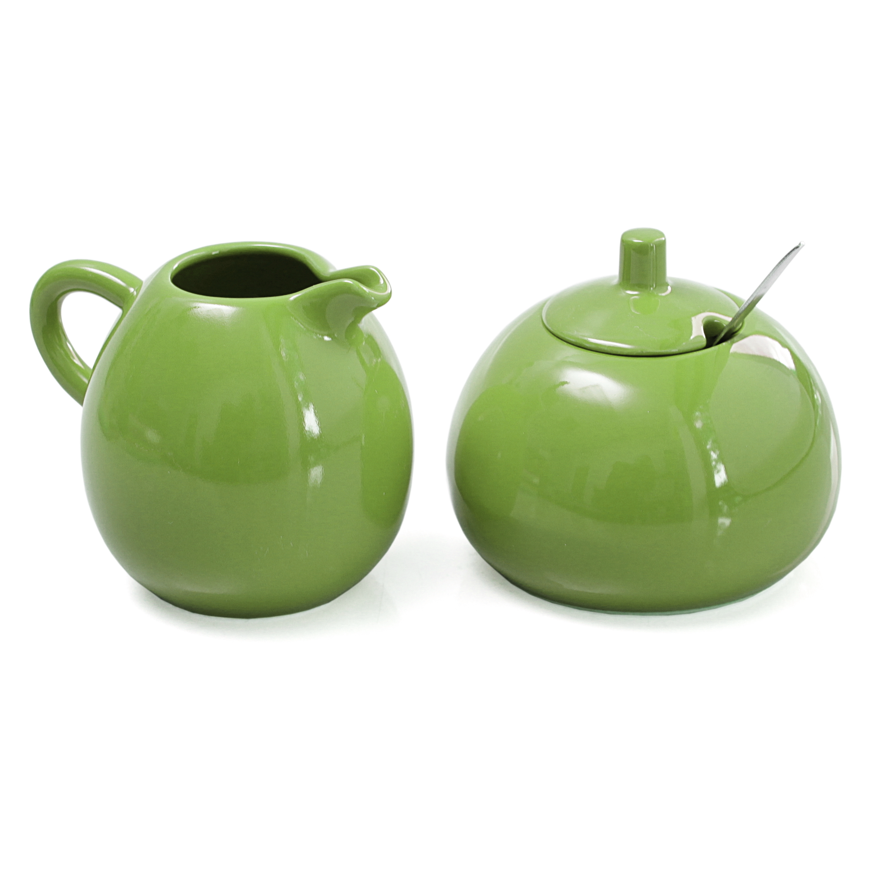 Omniware Citron Stoneware 5 Ounce Sugar and Creamer Set with Stainless Steel Spoon