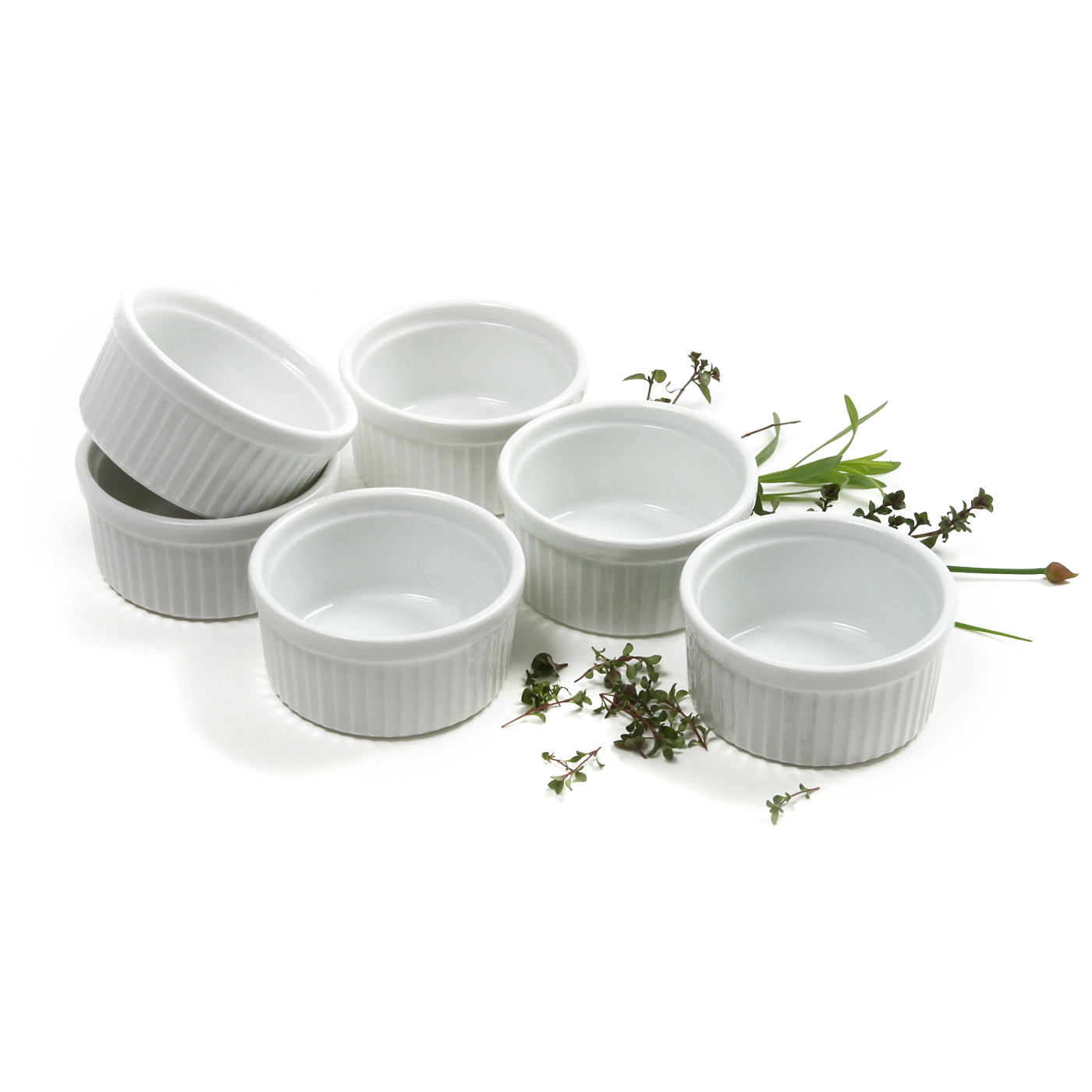 Norpro White Porcelain 3 Ounce Souffle Ramekin, Set of 6