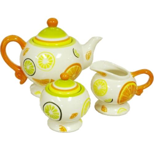 Citrus Delight 3pc Ceramic Teapot  with Sugar & Creamer set