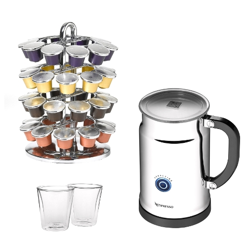 Nespresso Aeroccino Plus with Nifty Rack and 2 Bodum 6 Ounce Canteen Mugs