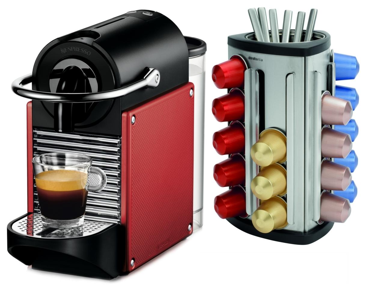 Nespresso Pixie D60 Dark Red Espresso Machine Plus Bonus 30 Capsule Carousel