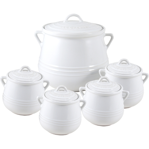 Le Creuset Heritage White Stoneware 5 Piece Bean Pot Set
