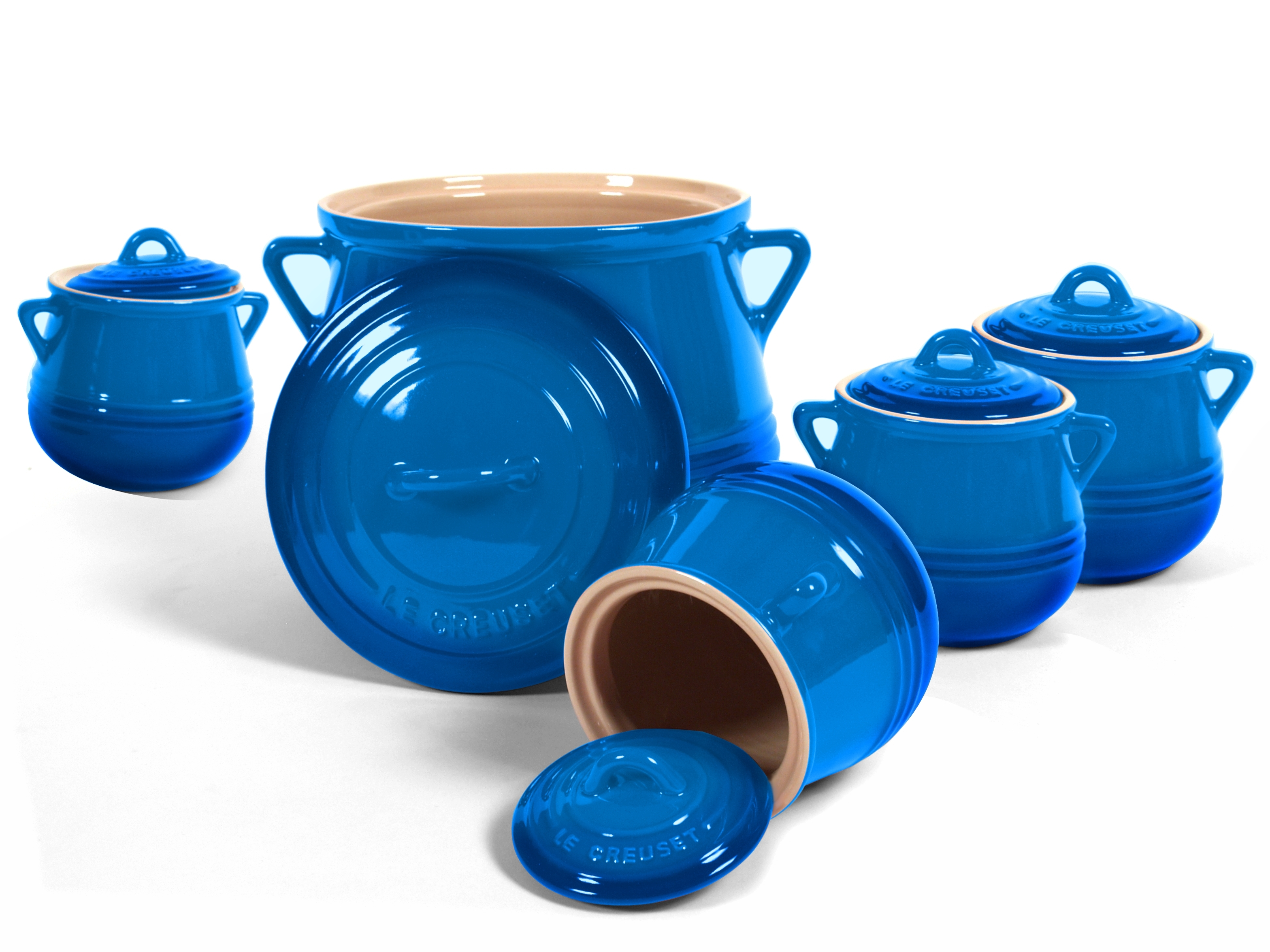 Le Creuset Heritage Marseille Blue Stoneware 5 Piece Bean Pot Set