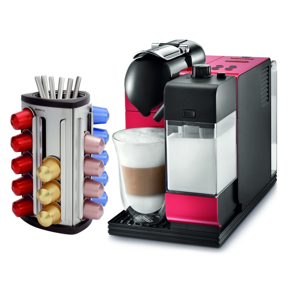 DeLonghi Lattissima Plus EN520R Red Nespresso Capsule Espresso and Cappuccino Machine with Bonus 30 Capsule Carousel