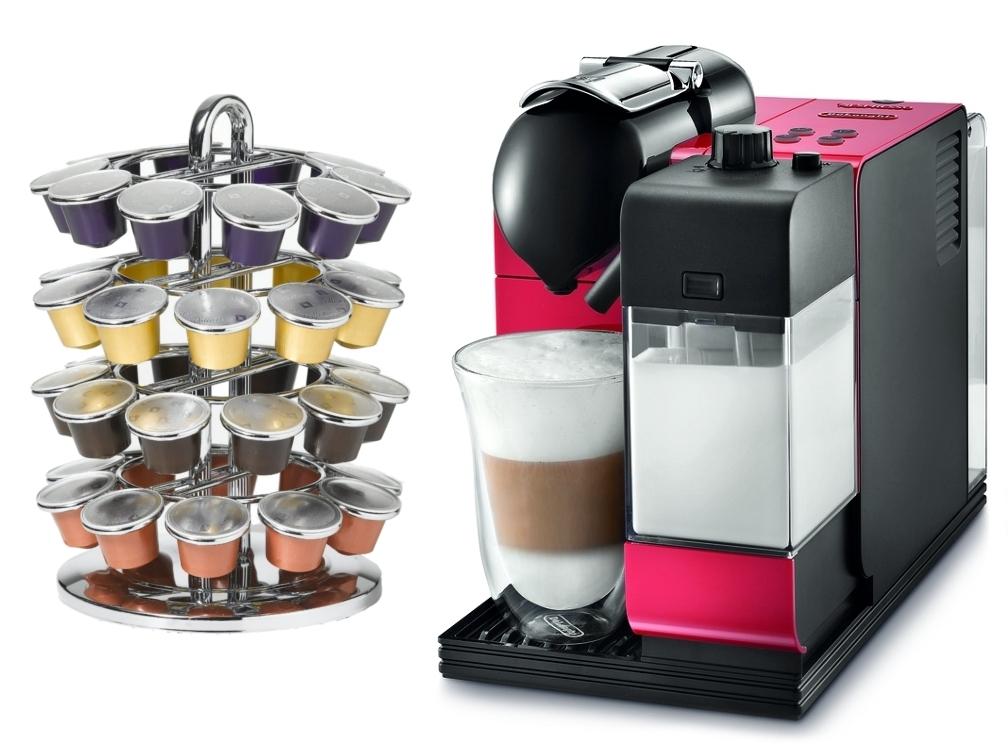DeLonghi Lattissima Plus EN520R Red Nespresso Capsule Espresso and Cappuccino Machine with Bonus 40 Capsule Carousel