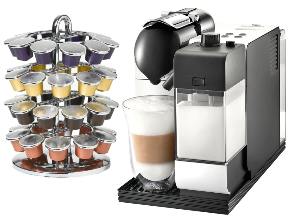 DeLonghi Lattissima Plus EN520W White Nespresso Capsule Espresso and Cappuccino Machine with Bonus 40 Capsule Carousel