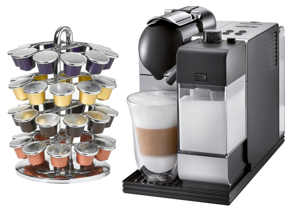 DeLonghi Lattissima Plus EN520SL Silver Nespresso Capsule Espresso and Cappuccino Machine with Bonus 40 Capsule Carousel