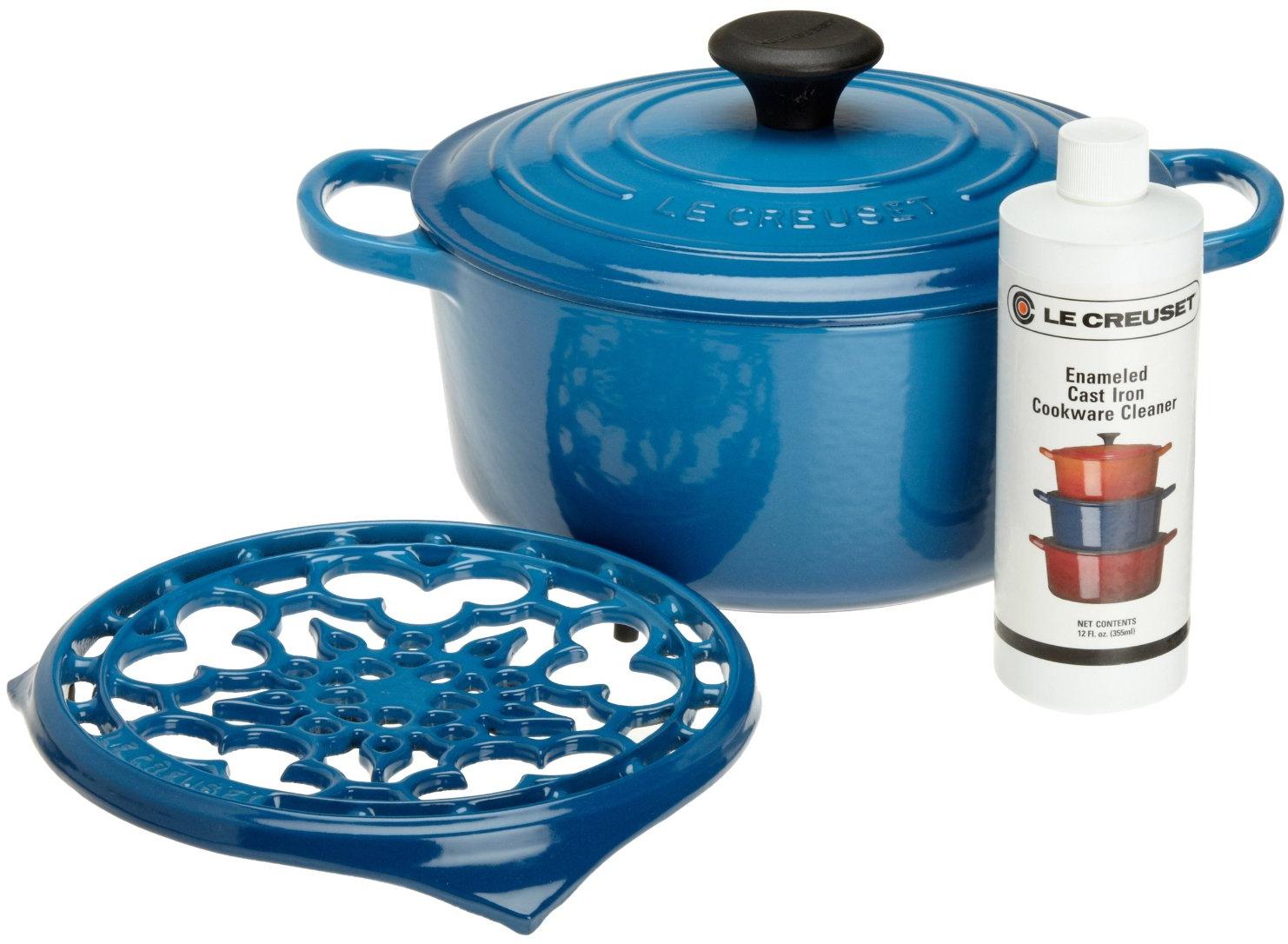 Le Creuset 4 Piece Marseille Blue Cast Iron Cookware Gift Set