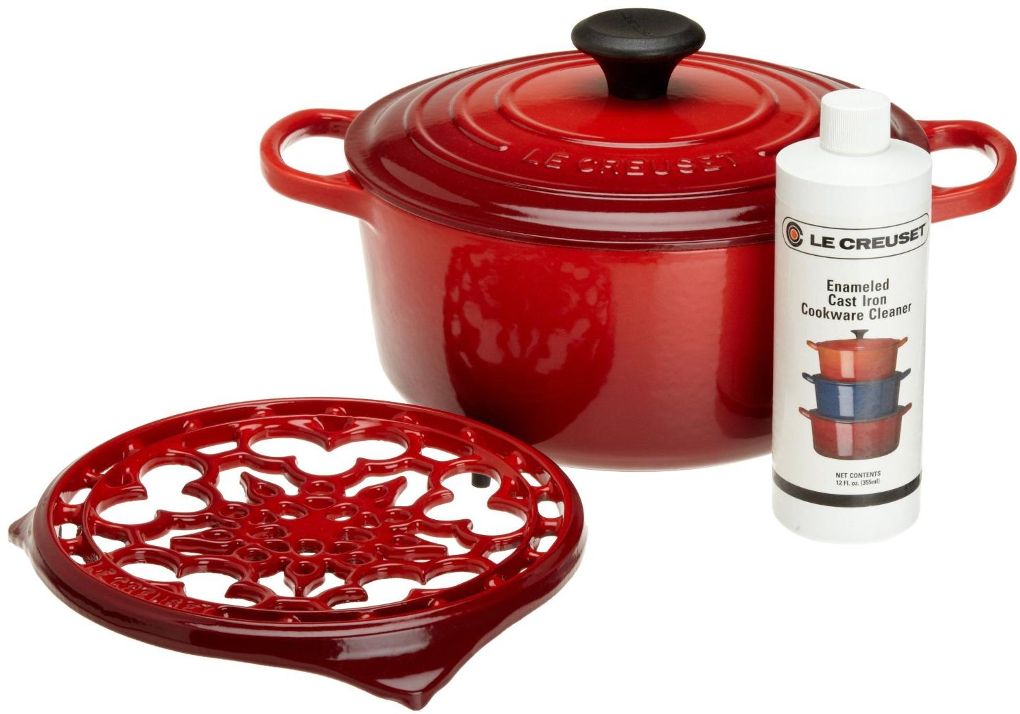 Le Creuset 4 Piece Cherry Cast Iron Cookware Gift Set