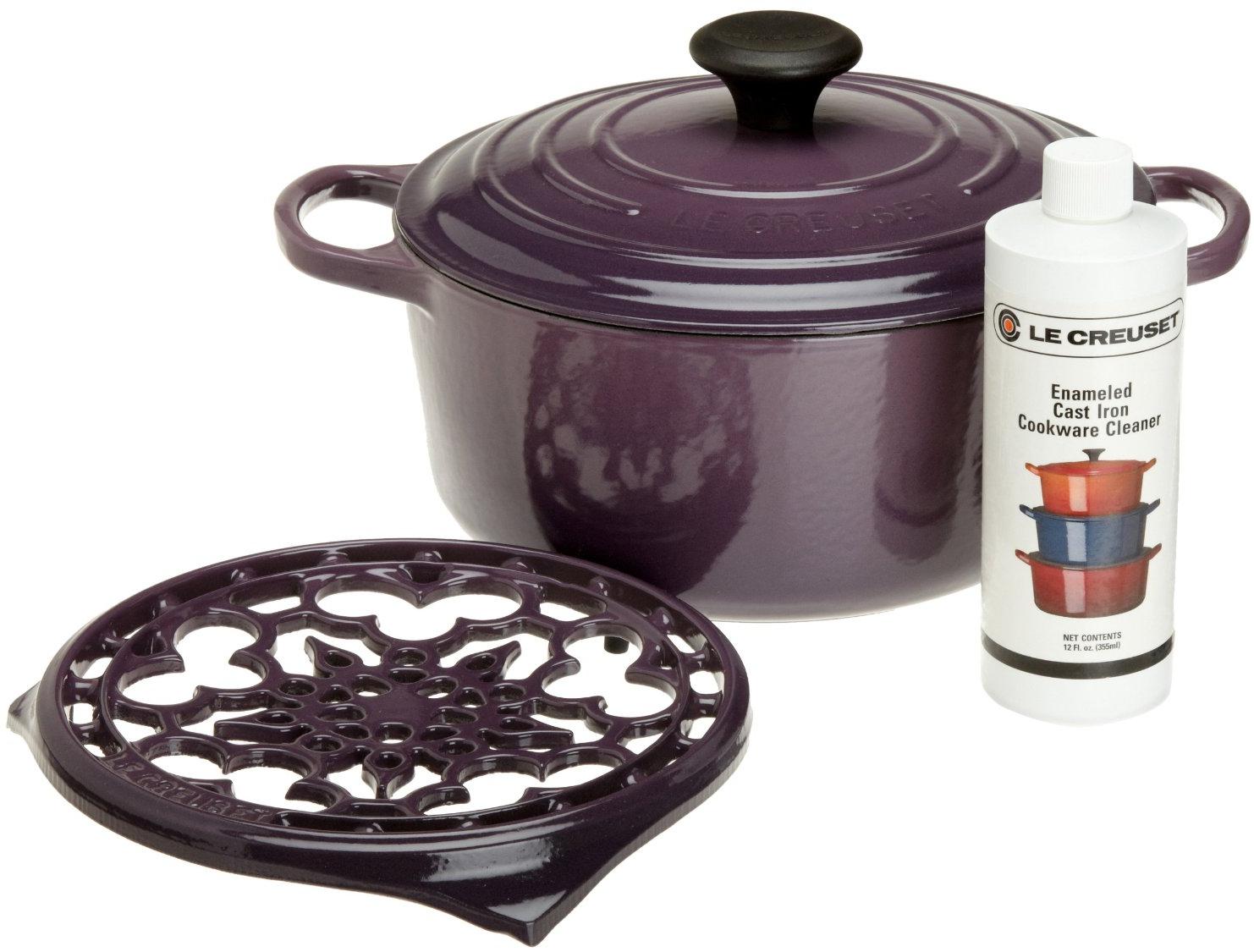 Le Creuset 4 Piece Cassis Cast Iron Cookware Gift Set