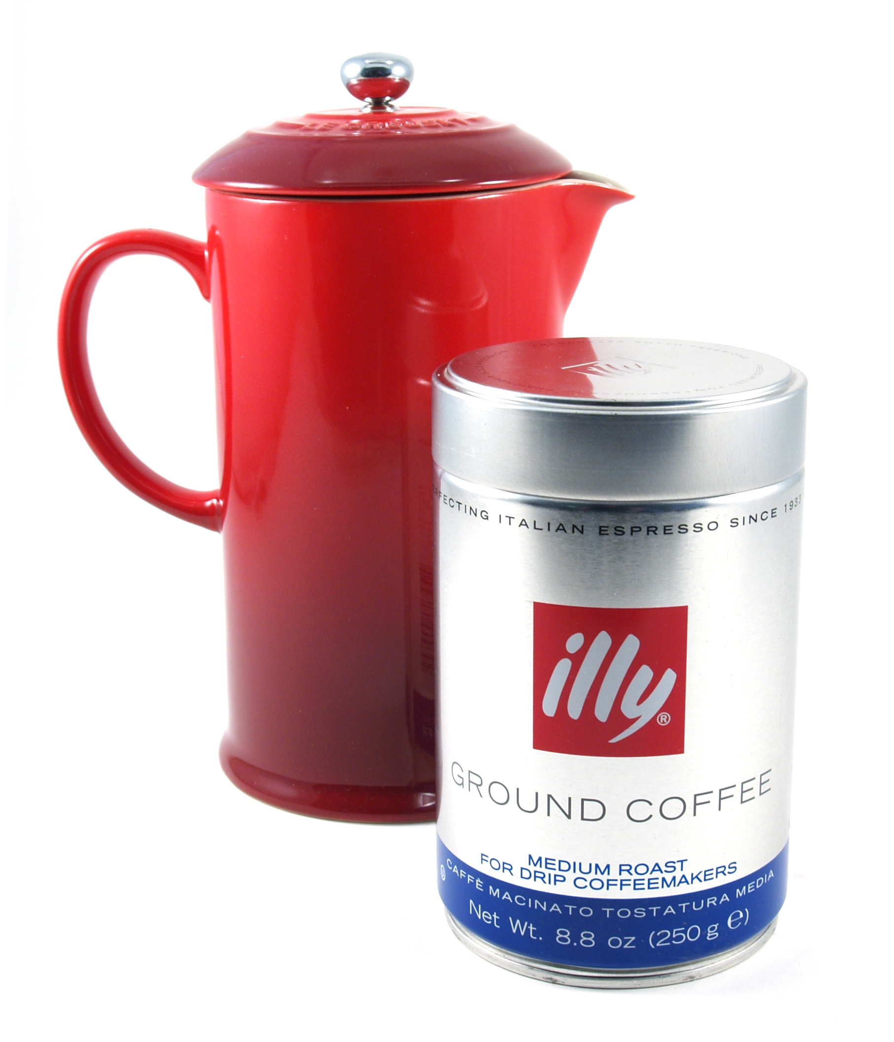 Le Creuset Cherry Stoneware French Press 1 Quart Coffee Maker with Illy Medium Roast Ground Coffee