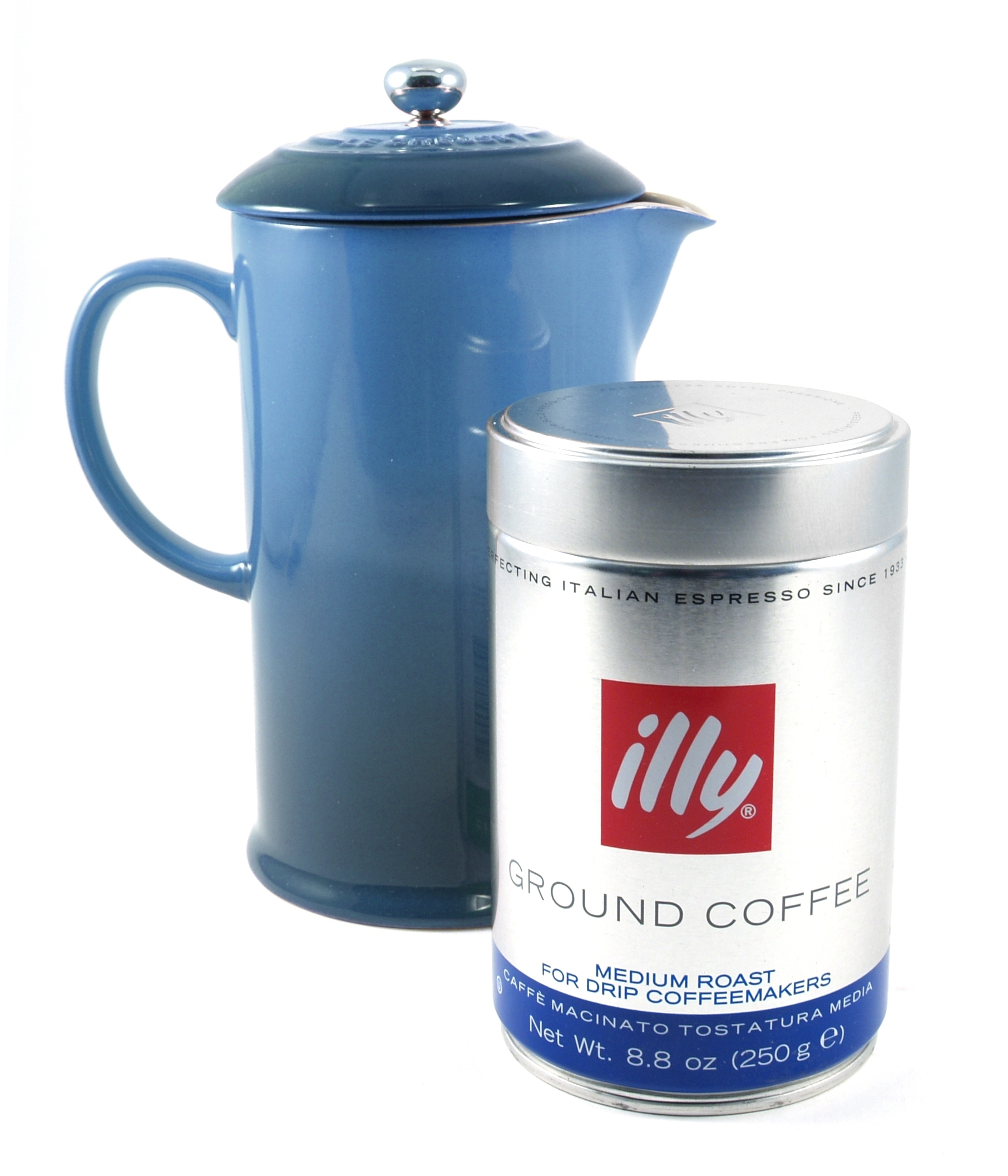 Le Creuset Marseille Blue Stoneware French Press 1 Quart Coffee Maker with Illy Medium Roast Ground Coffee