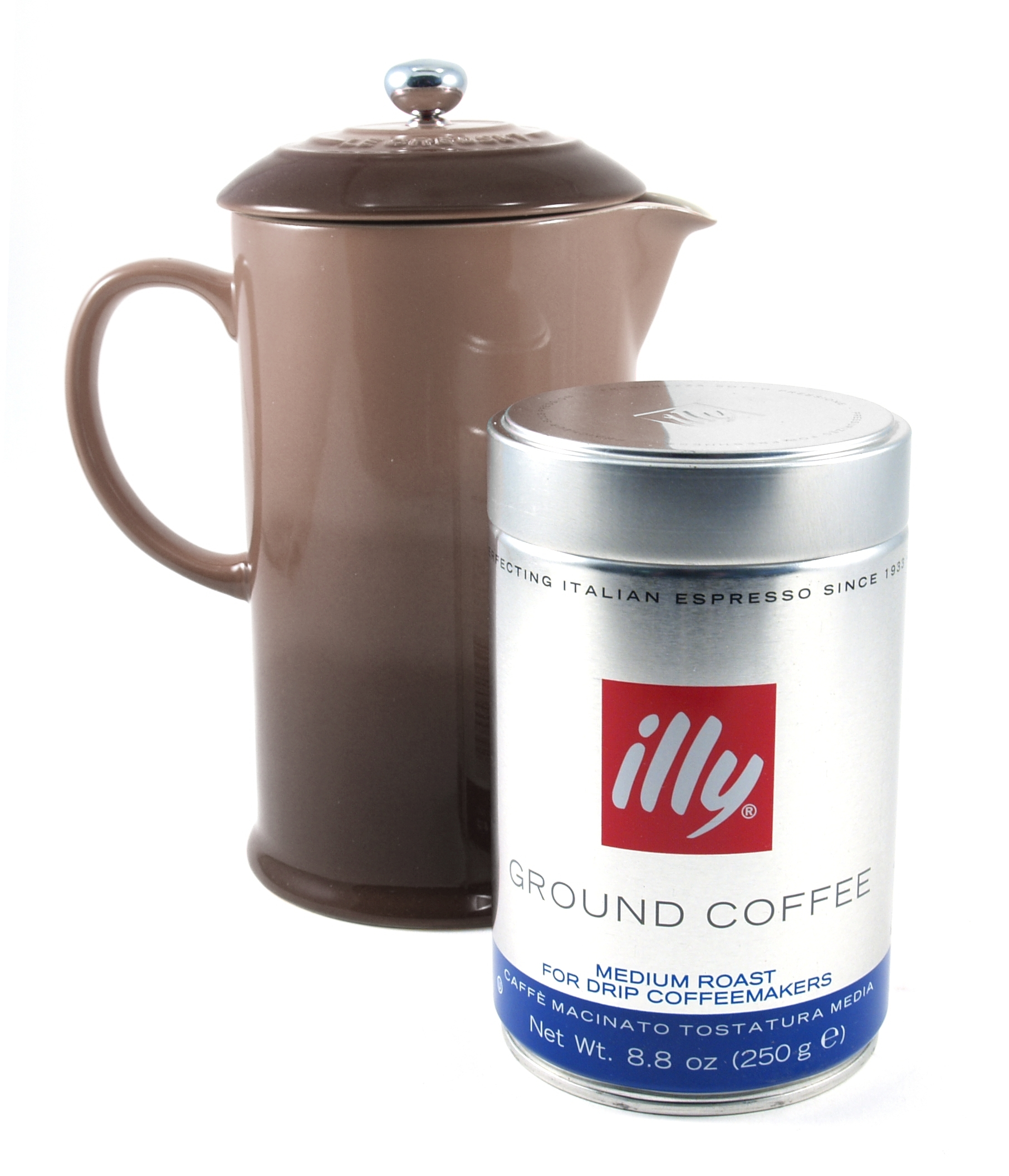 Le Creuset Truffle Stoneware French Press 1 Quart Coffee Maker with Illy Medium Roast Ground Coffee