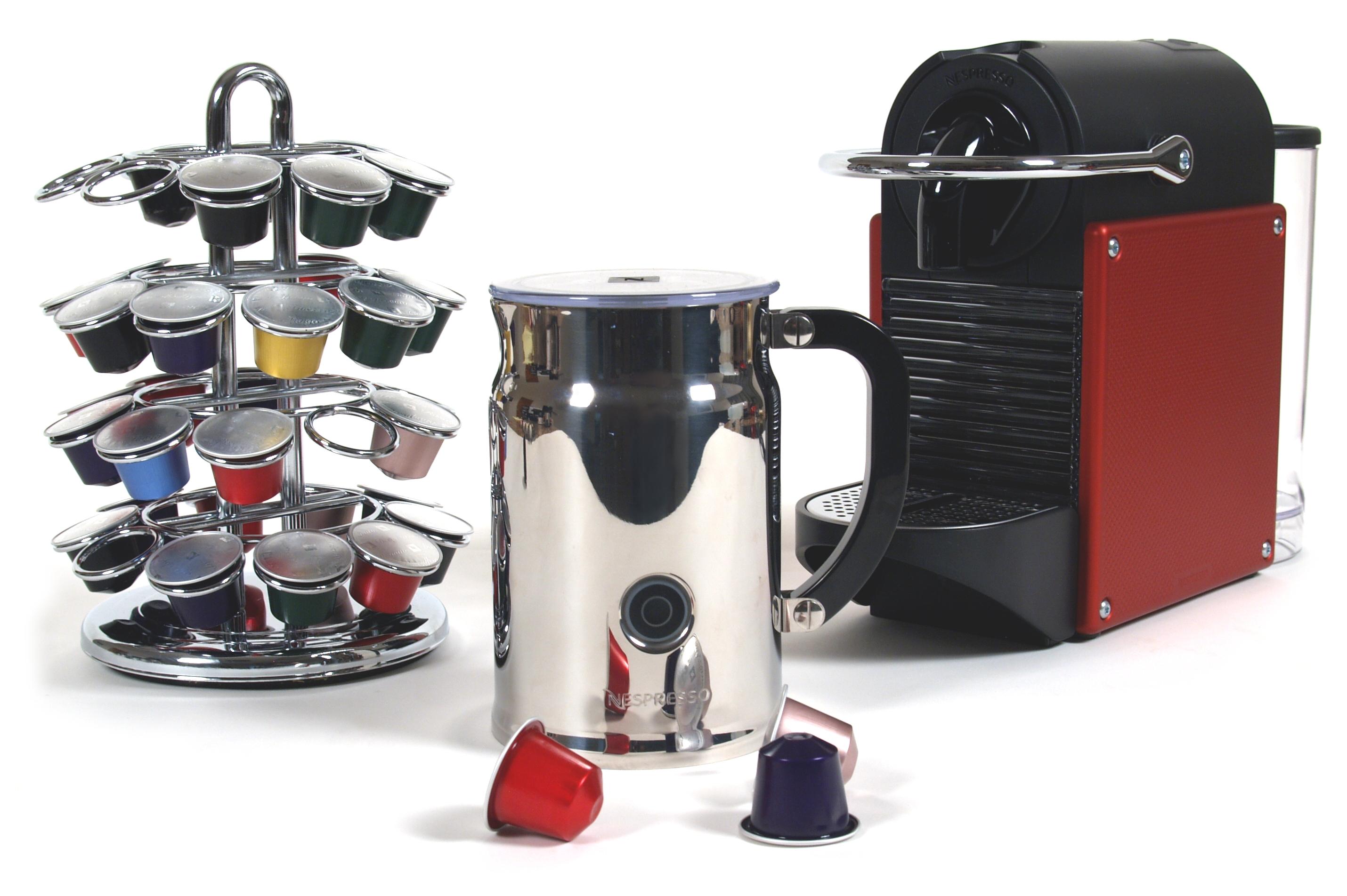 Nespresso Pixie D60 Carmine Espresso Machine With Bonus Aeroccino Plus and Bonus 40 Capsule Carousel