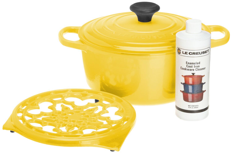 Le Creuset 4 Piece Soleil Yellow Cast Iron Cookware Gift Set