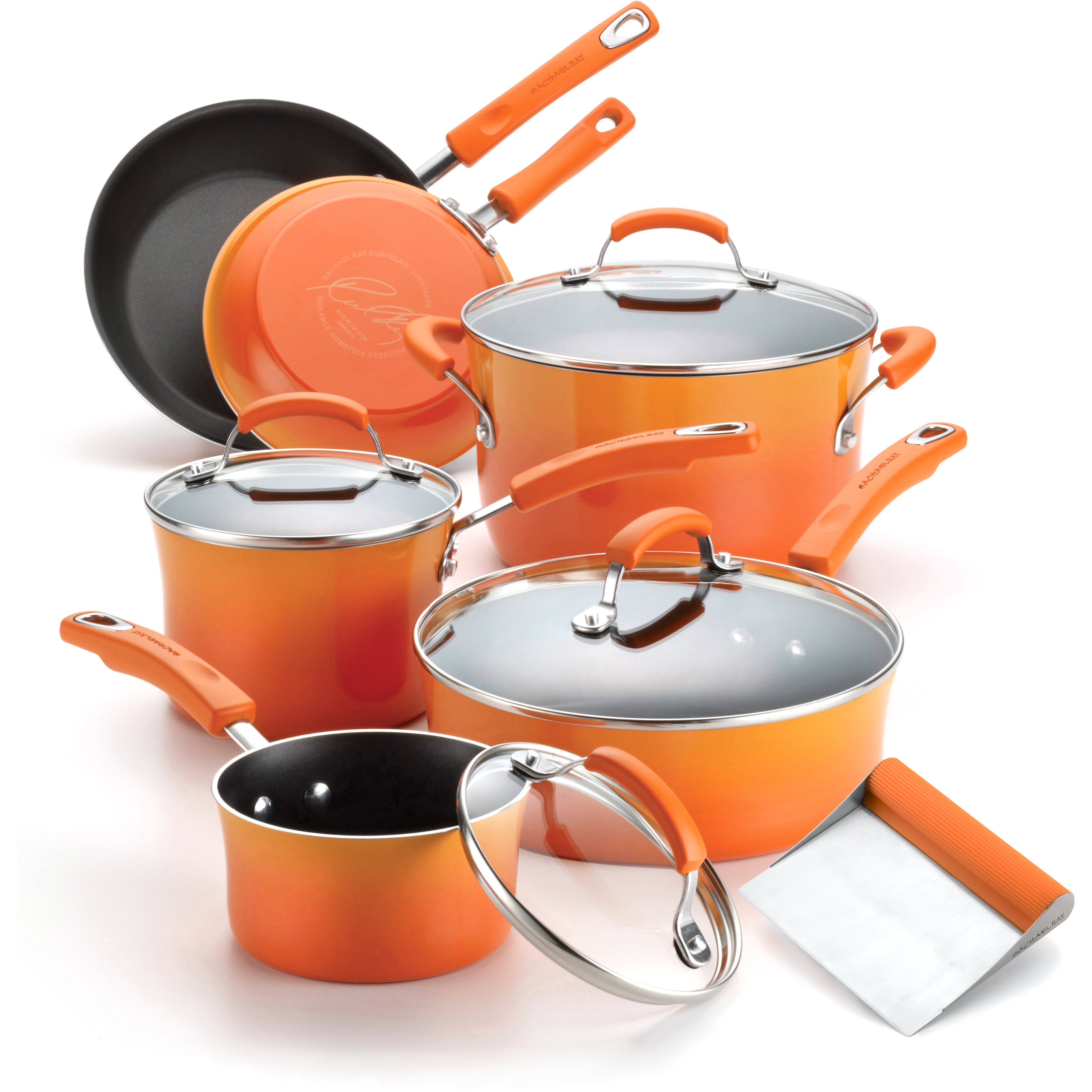 Rachael Ray Orange Porcelain Enamel II 10 Piece Cookware Set with Free Bench Scraper