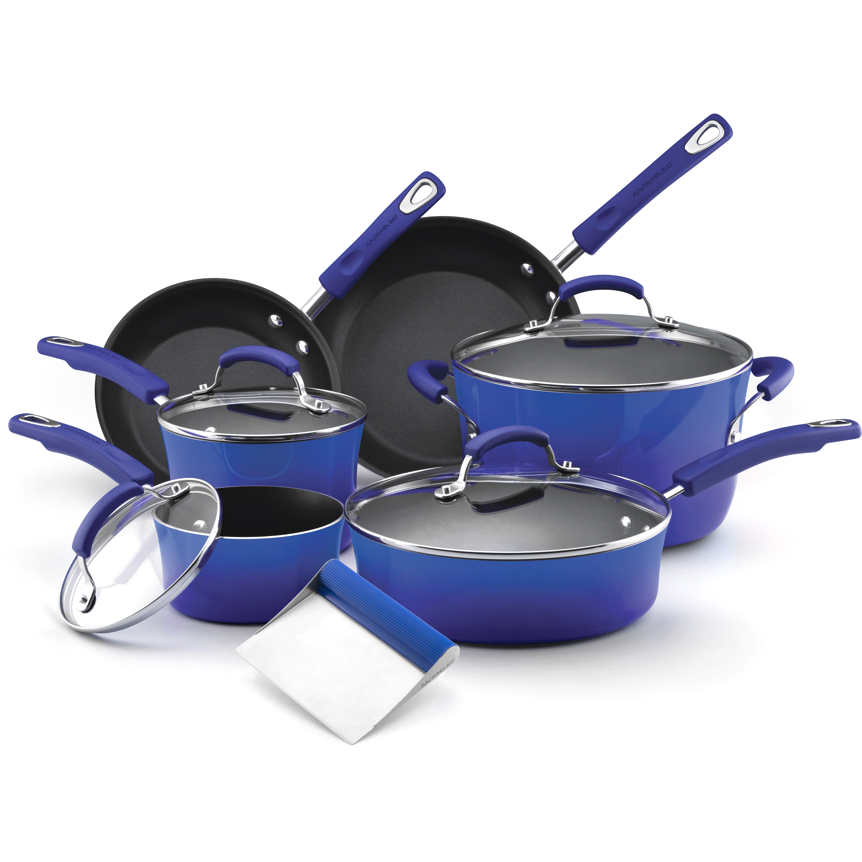 Rachael Ray Blue Porcelain Enamel II 10 Piece Cookware Set with Free Bench Scraper
