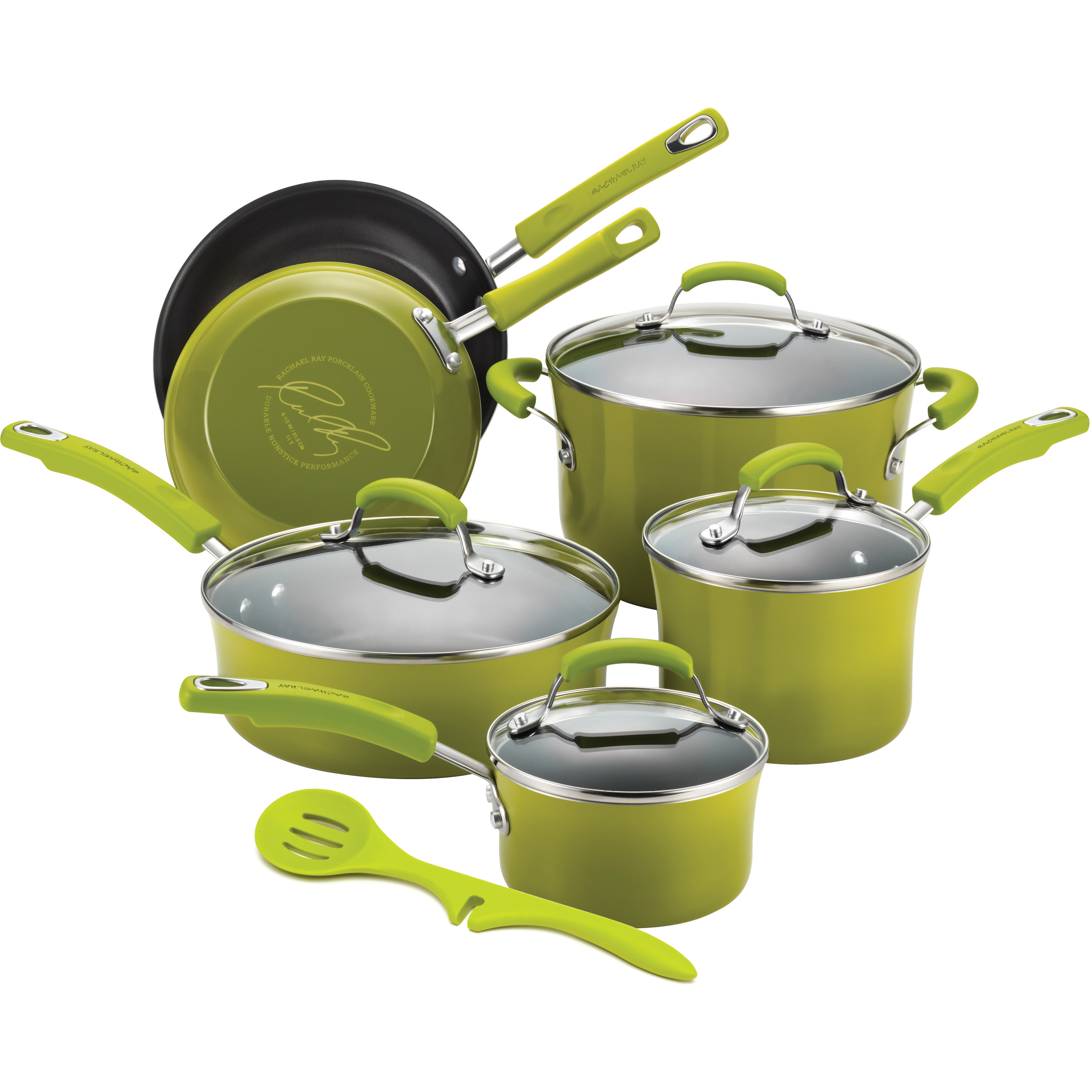 Rachael Ray Green Porcelain Enamel II 10 Piece Cookware Set with Free Lazy Spoon