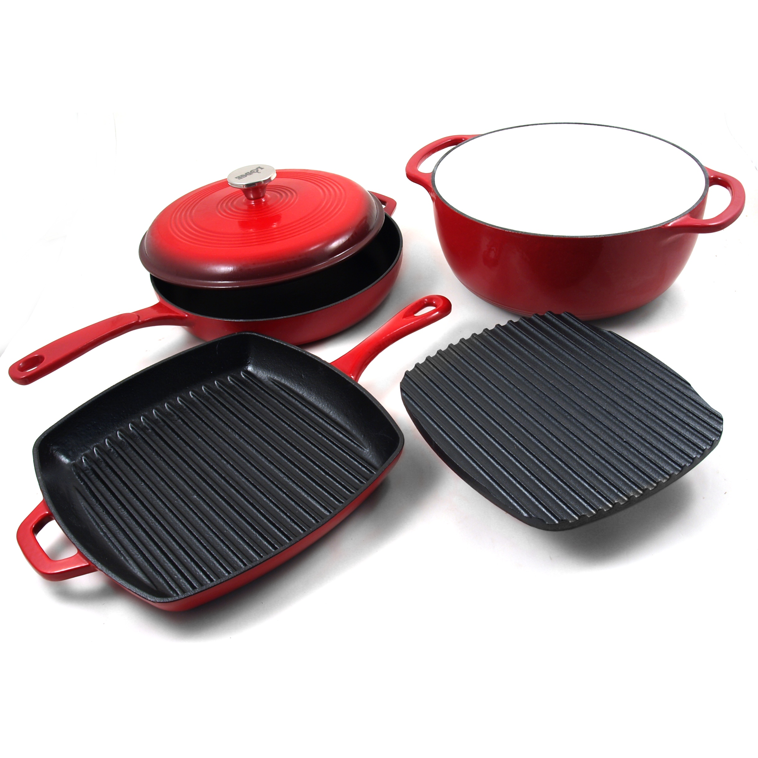 Lodge Spice Red Enameled Cast Iron 5 Piece Basic Cookware Set