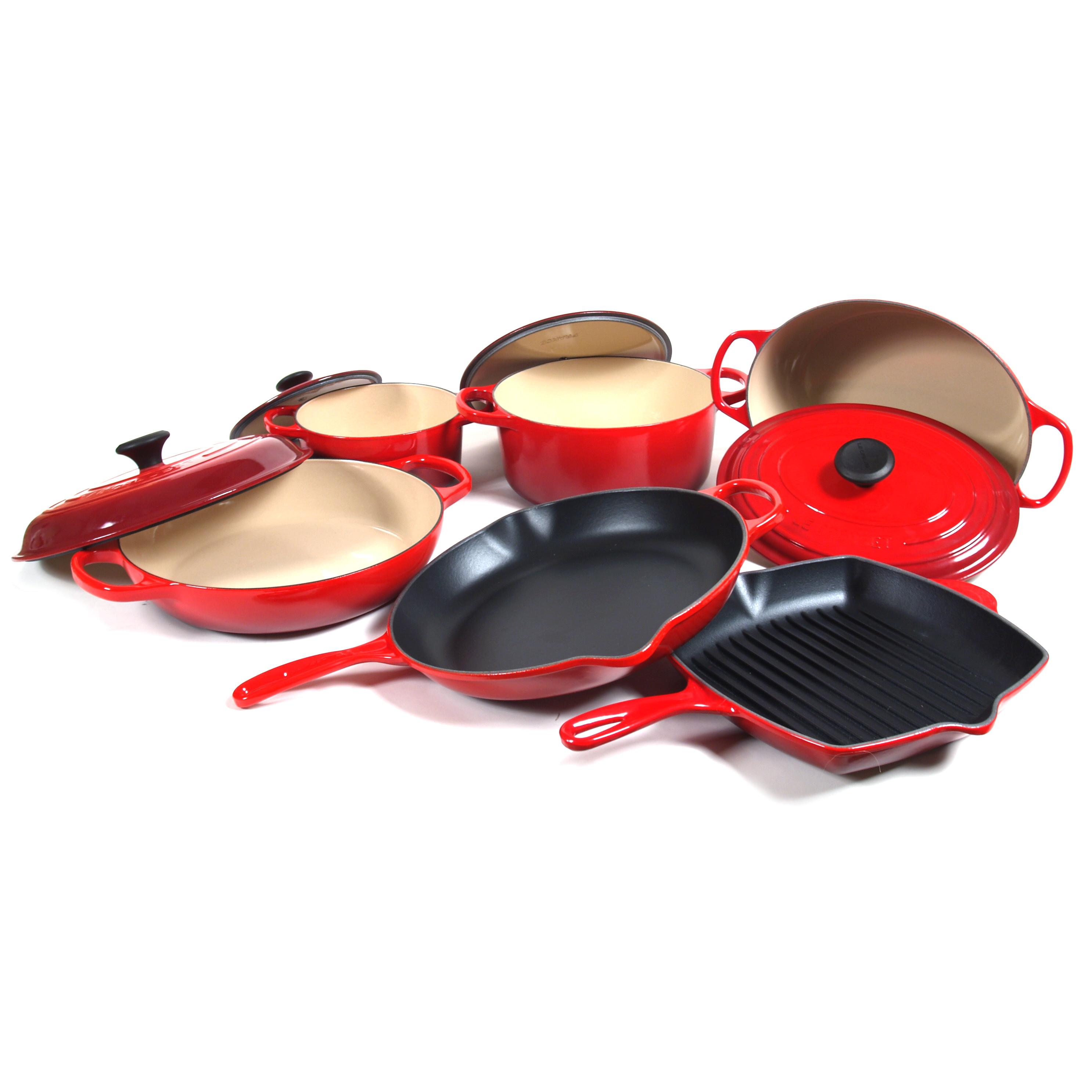 Le Creuset Signature 10 Piece Cherry Enameled Cast Iron Cookware Set