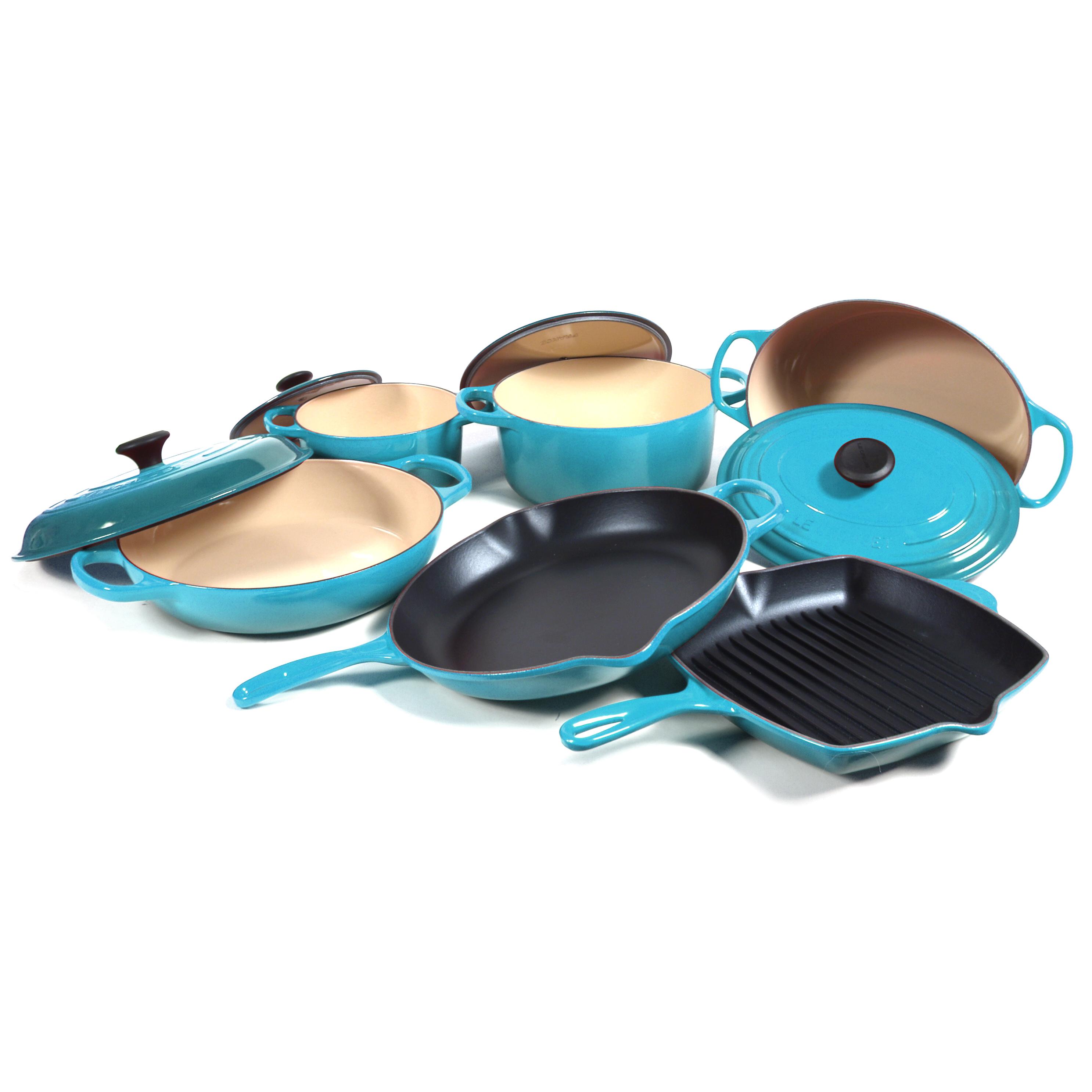 Le Creuset Signature 10 Piece Caribbean Enameled Cast Iron Cookware Set