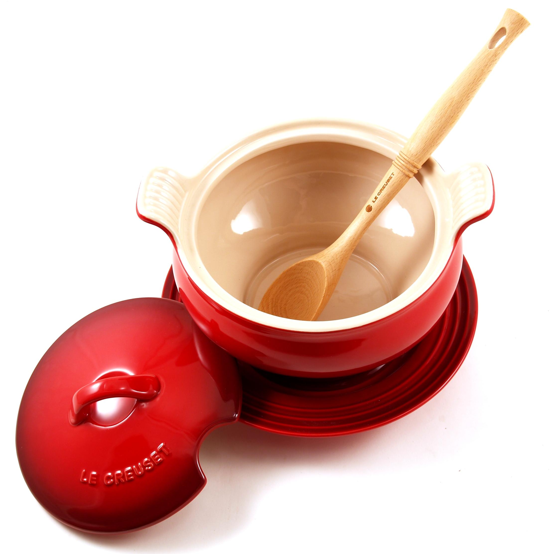 Le Creuset 7 Piece Cherry Stoneware Soup Tureen and Bowl Set
